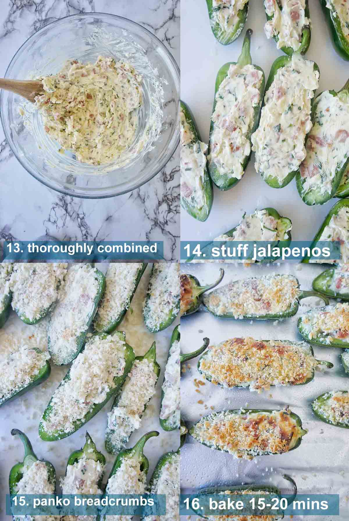 Bacon Jalapeno Poppers method 13 to 16 with text over lay