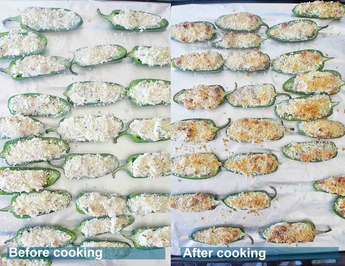 Jalapeno poppers on a baking tray before and after oven baking
