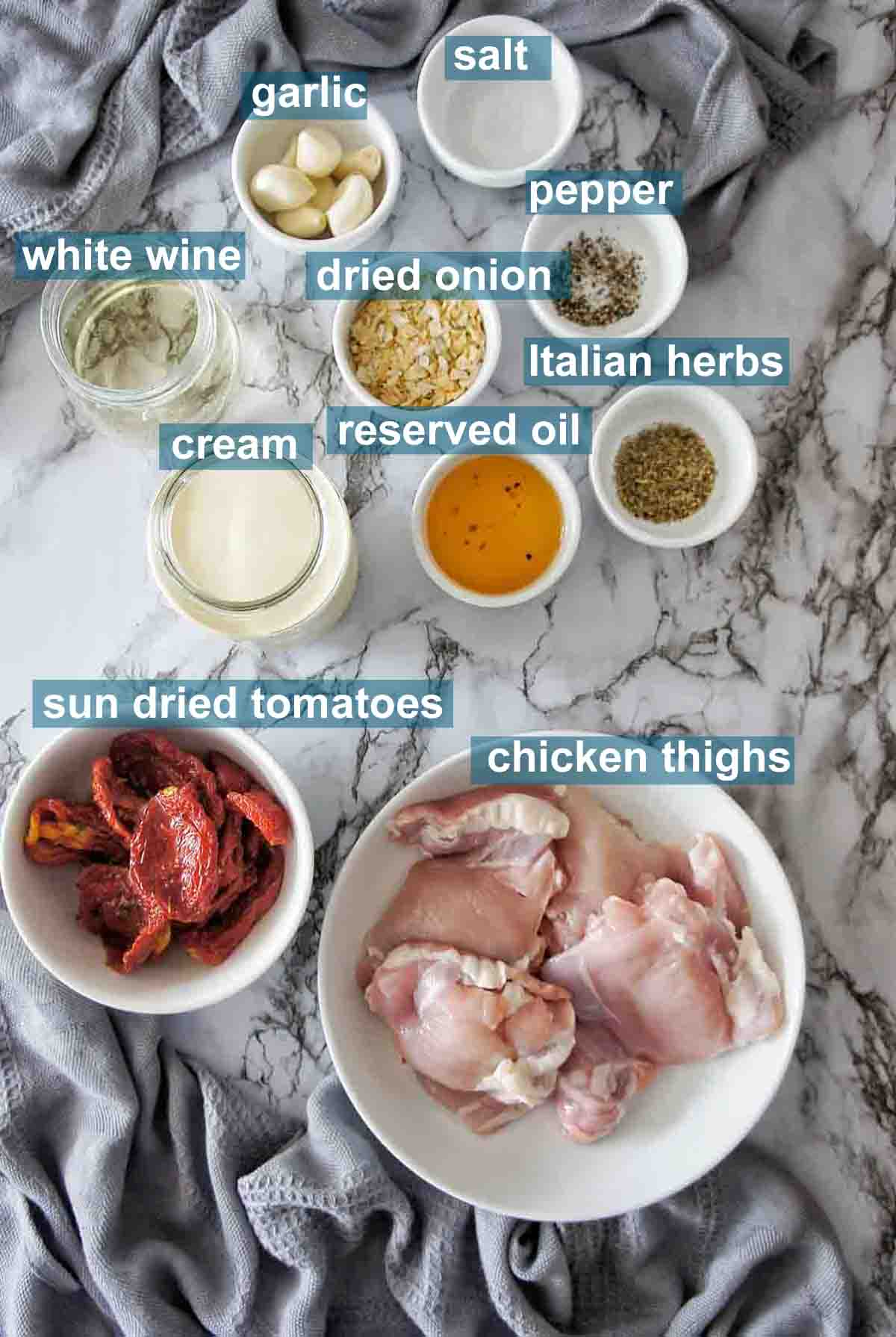 Ingredients for creamy garlic chicken thighs with text labels
