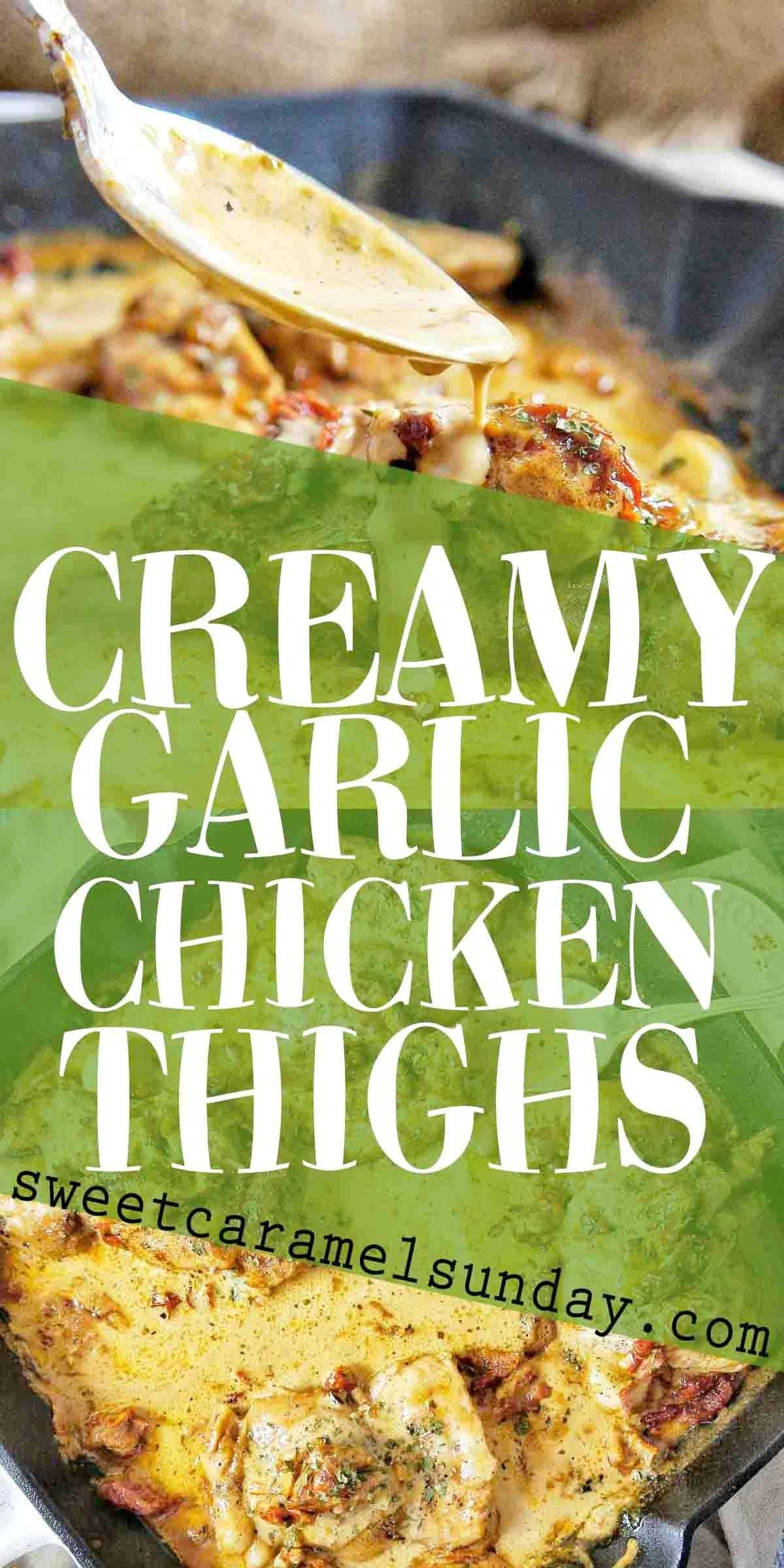 Creamy Garlic Chicken Thighs with text overlay