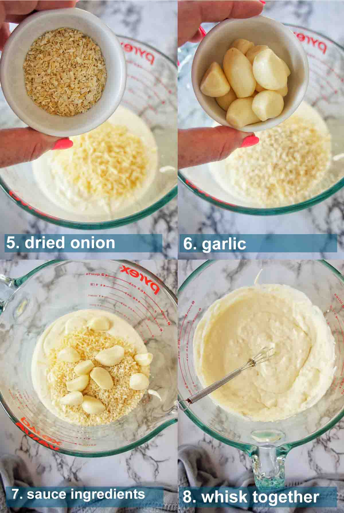 Creamy Garlic Shrimp method 6 to 9 with text labels