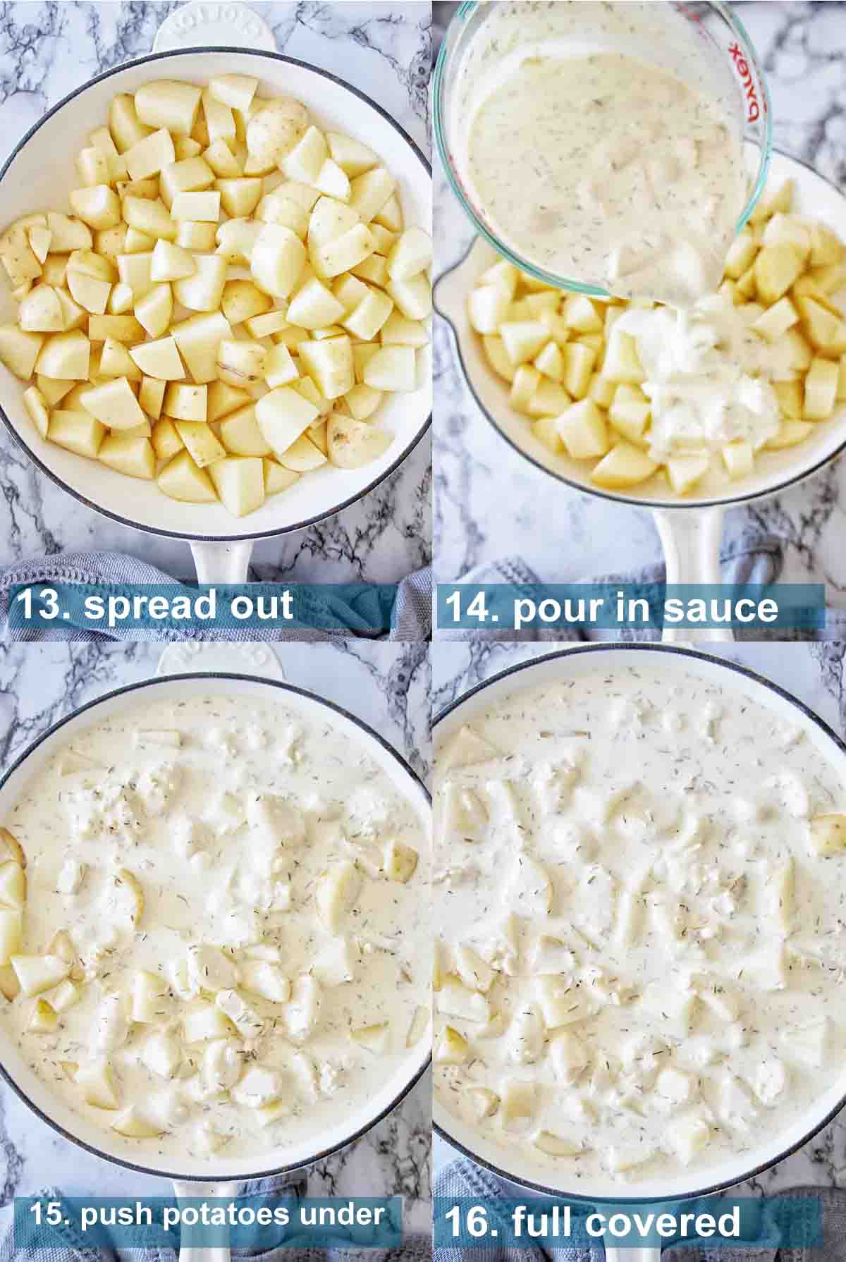 Creamy Garlic Potatoes process shots 13 to 16