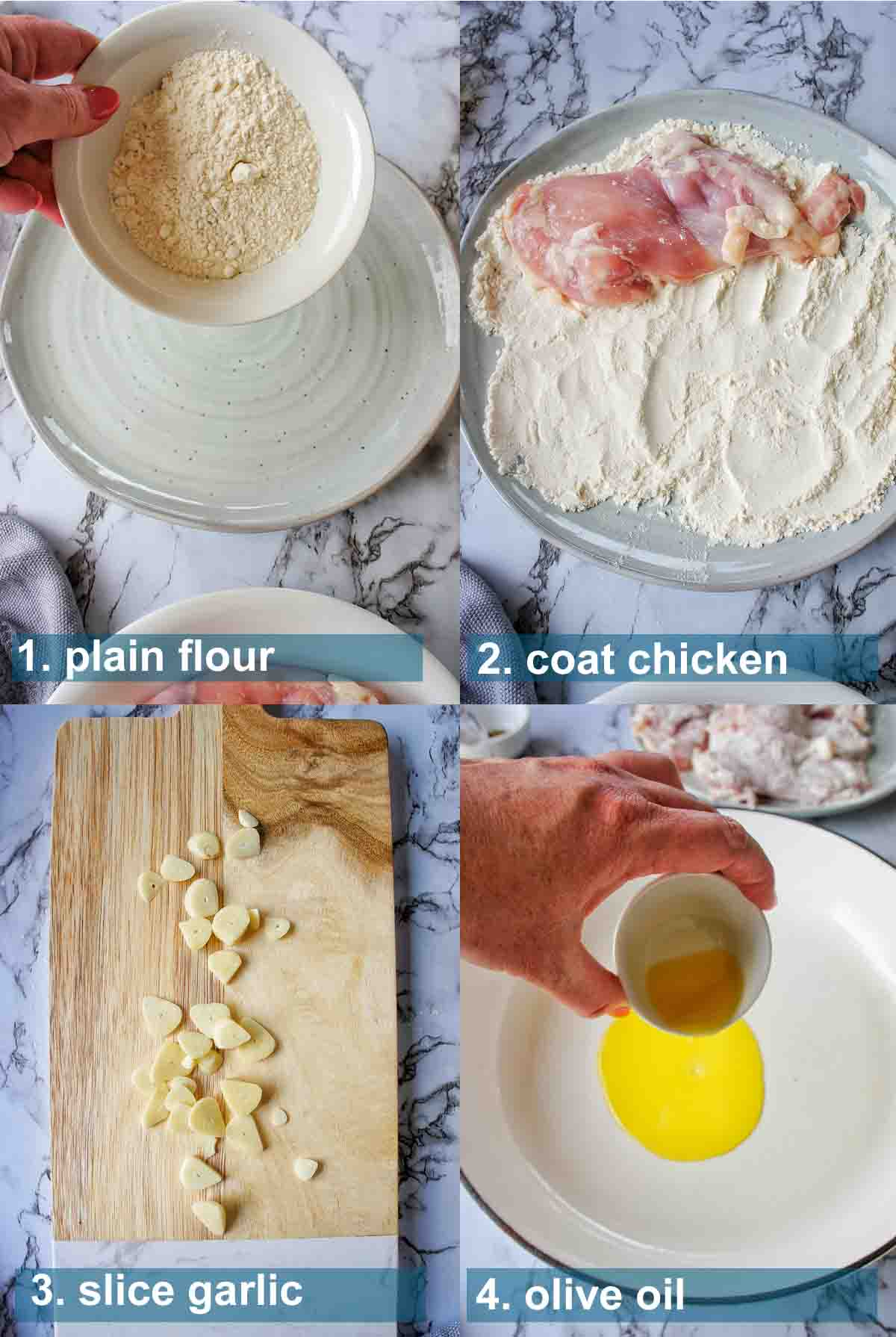 Creamy Mushroom Chicken Thighs method with text labels