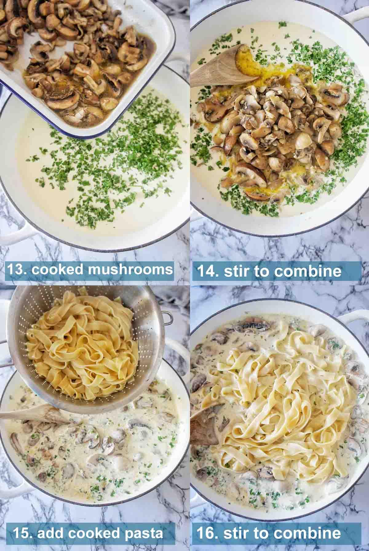 Creamy Mushroom Tagliatelle method 13 to 16