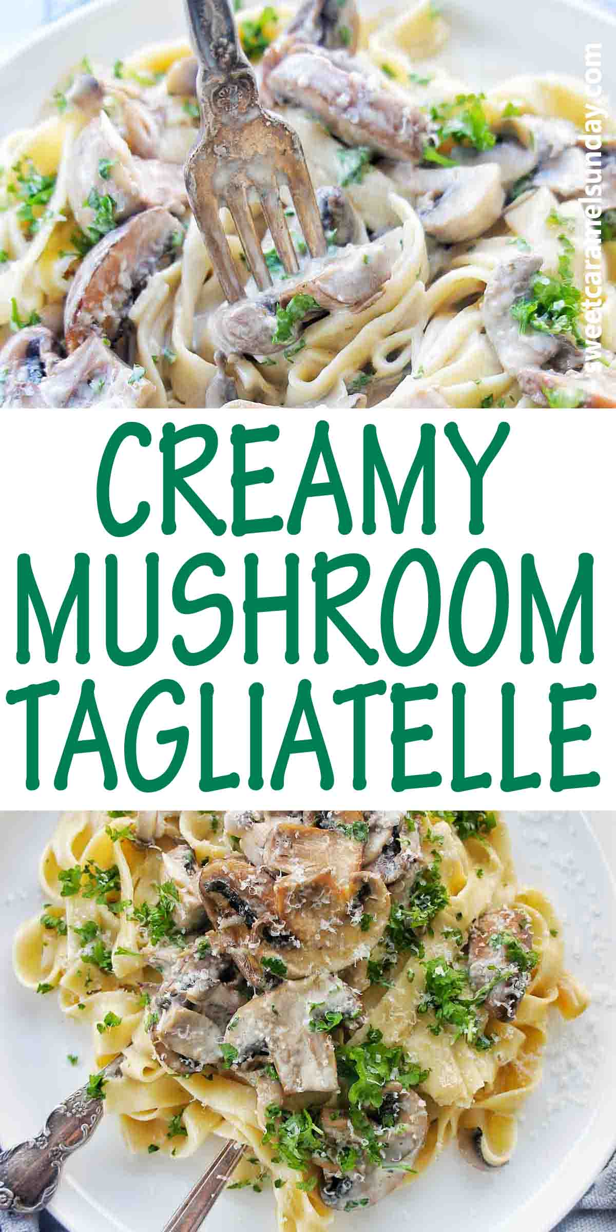 Creamy Mushroom Tagliatelle with text over lay