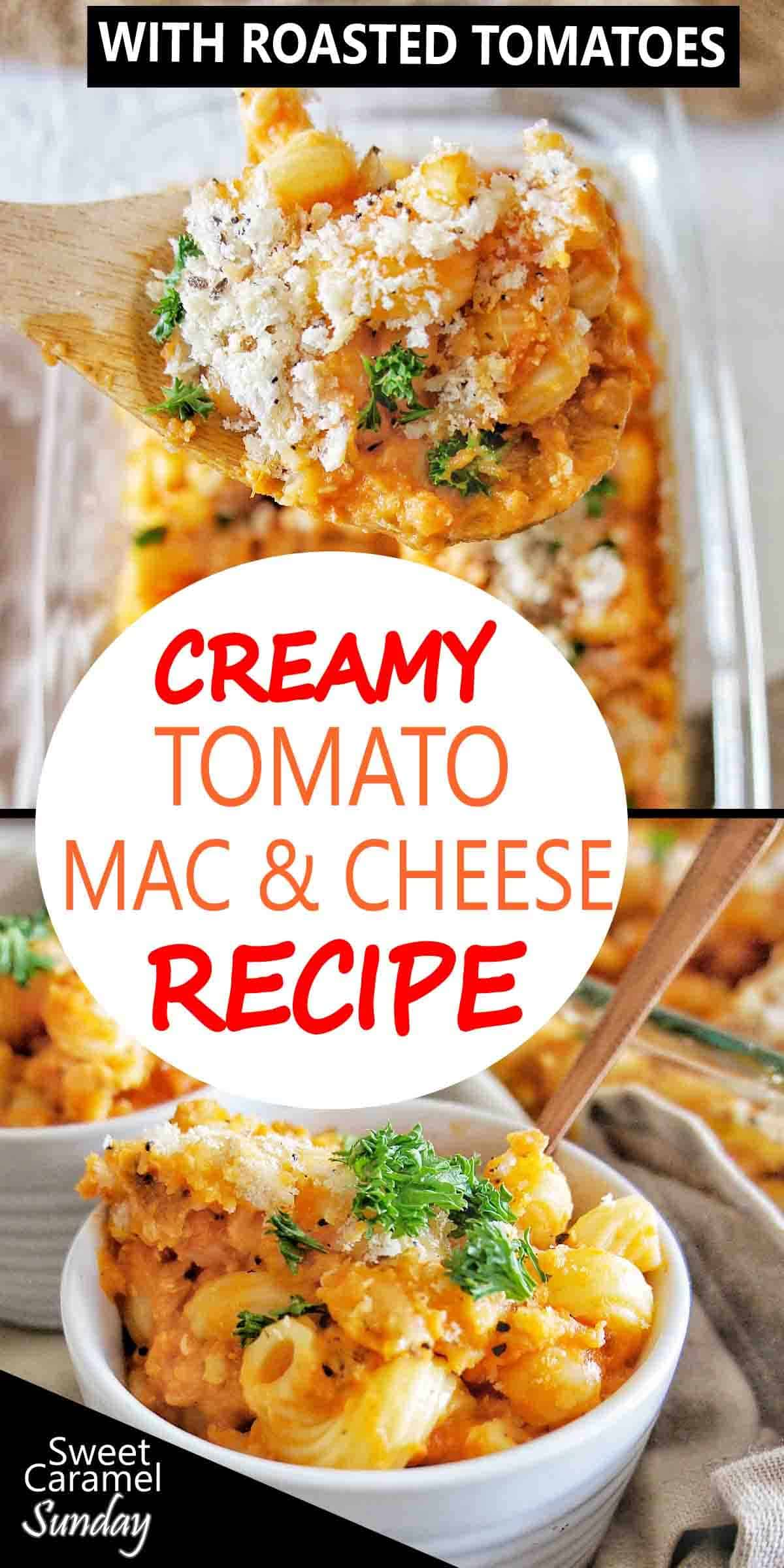 Creamy Tomato Mac and Cheese with text overlay