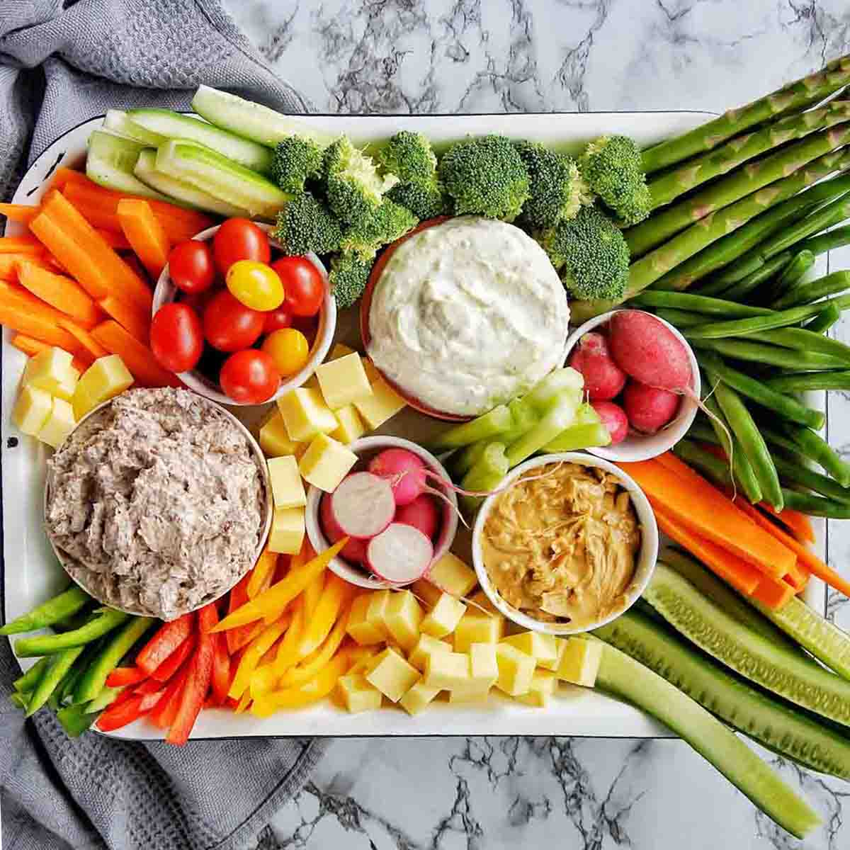 Vegetable tray with dips and cheese
