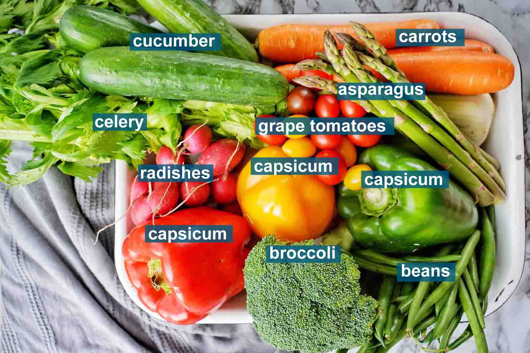 Ingredients for crudite platter with text labels