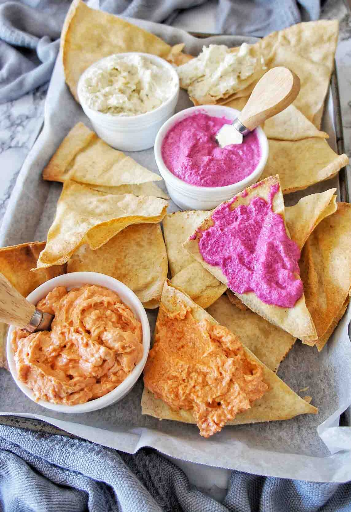 Chips and Dips on platter with serving knife