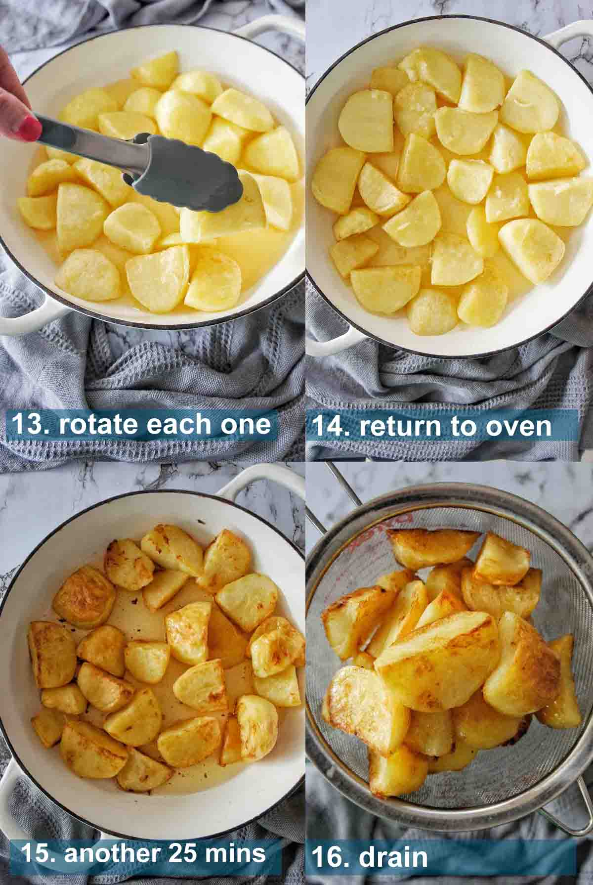 Duck Fat potatoes method 13 to 16 with text labels