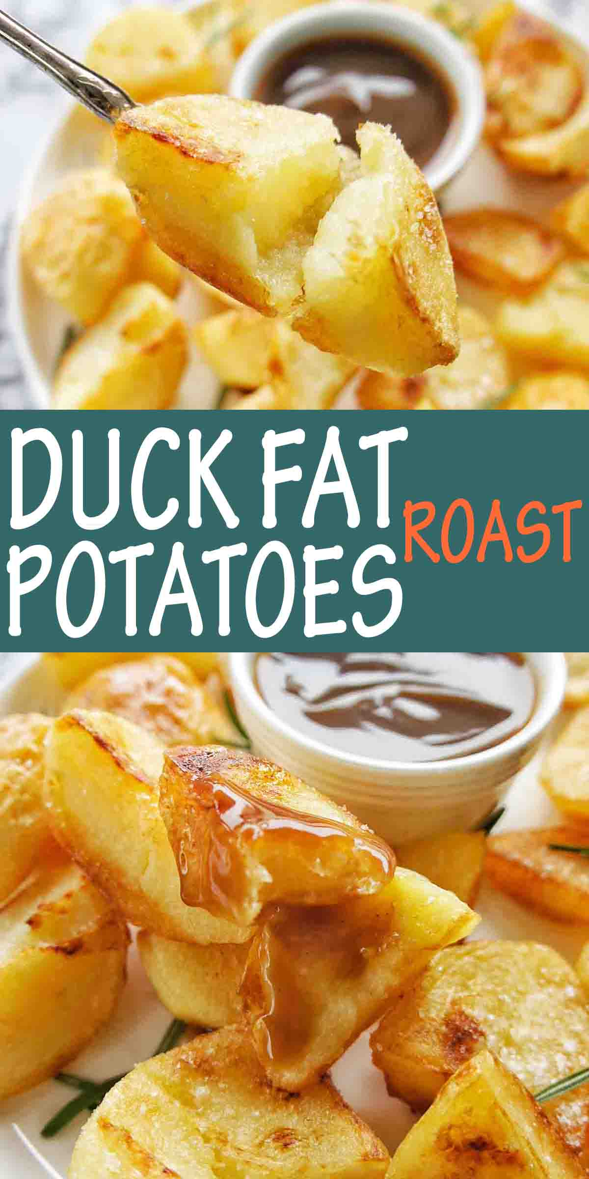Duck Fat Roast potatoes with text labels