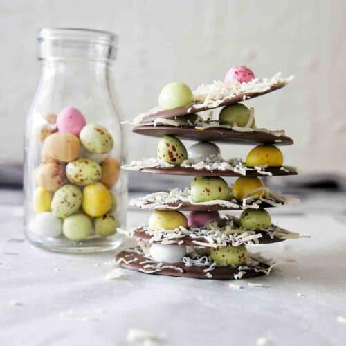 Easter Bark stack with small bottle of Easter Eggs to the left