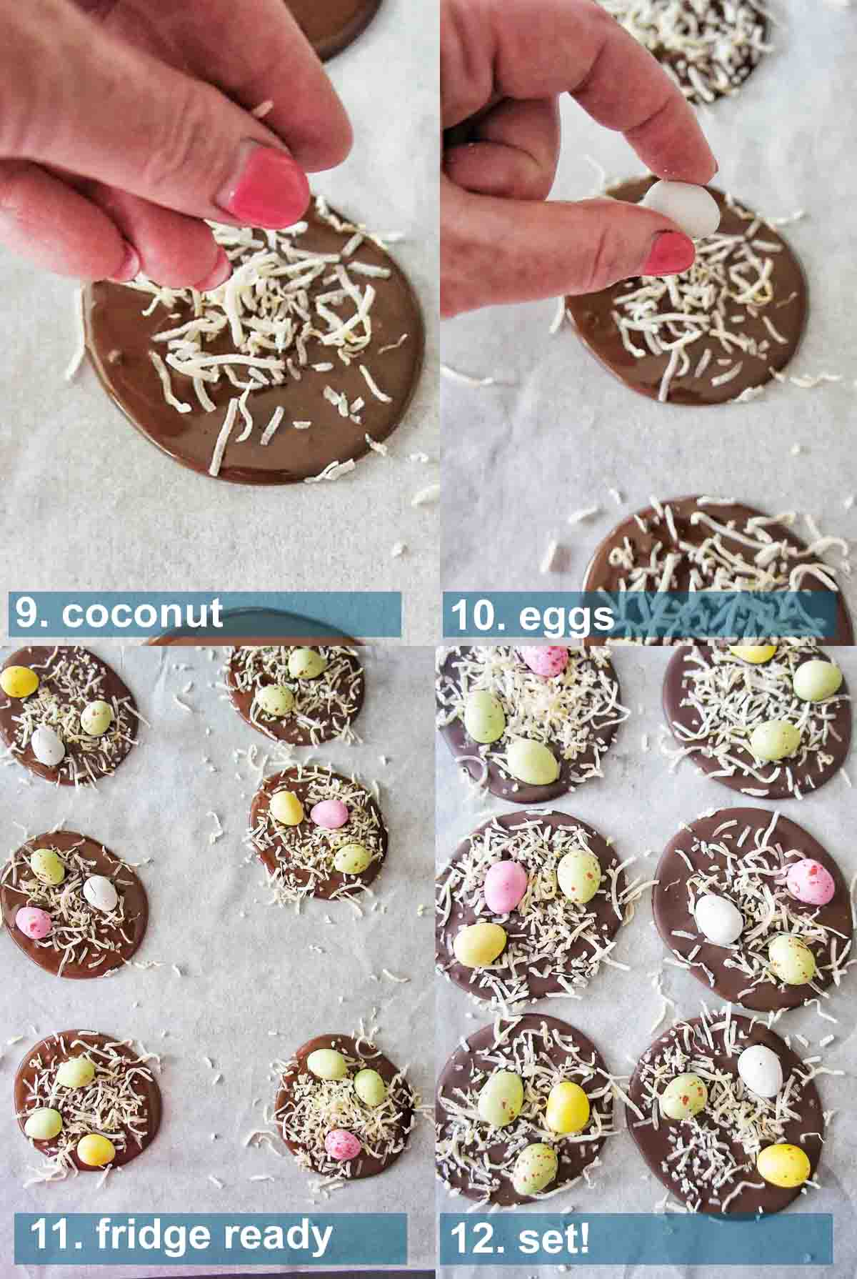Easter Chocolate fudge with step by step photos and text overlay