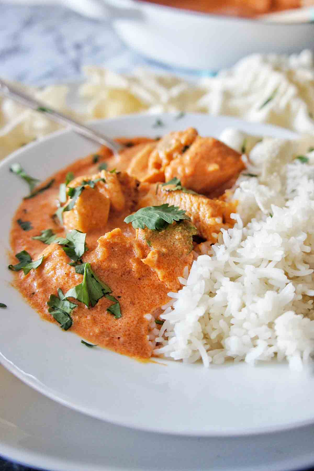 Easy Butter Chicken in a white bowl with a large pot of it in the background