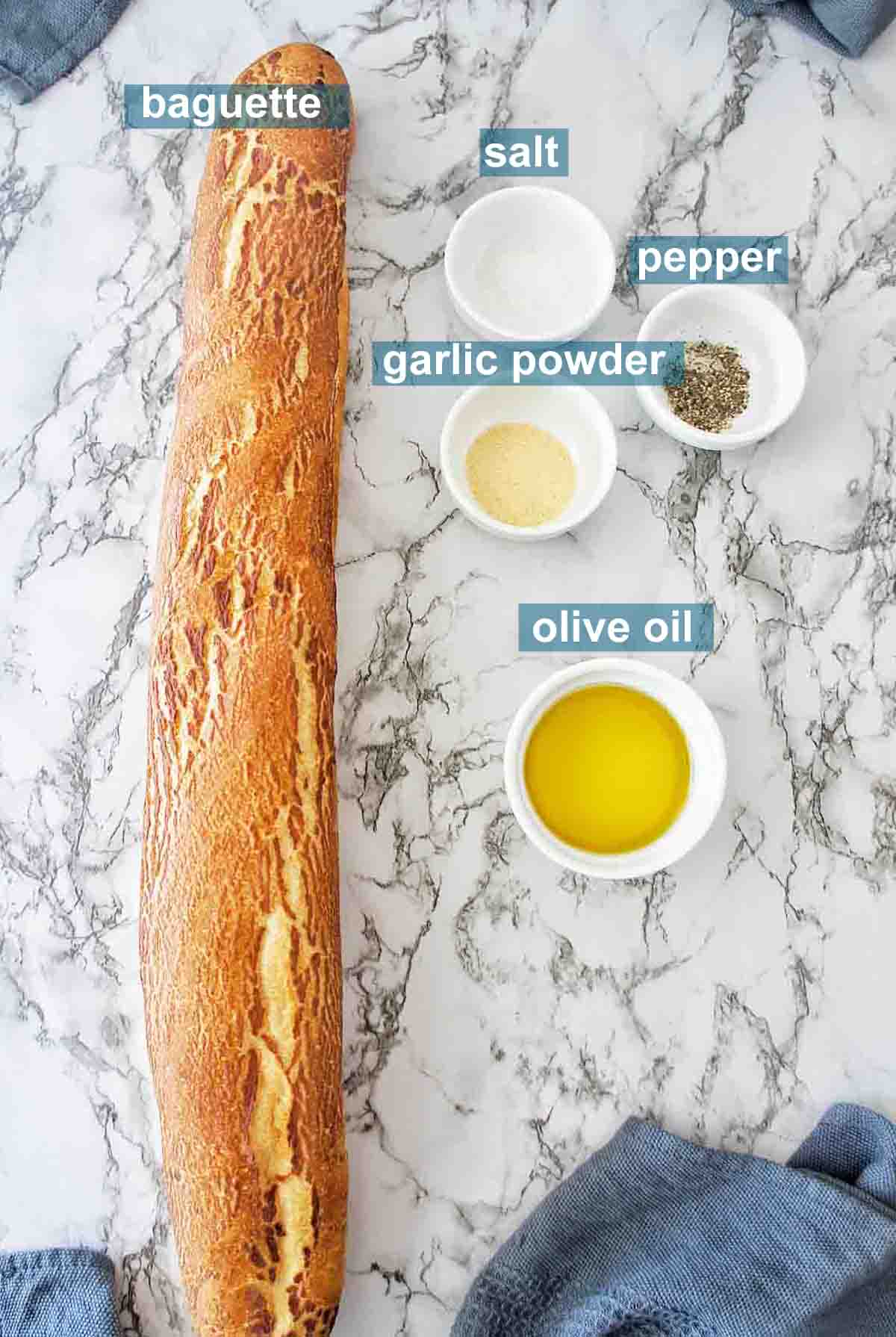 Ingredients for crostini with text labels