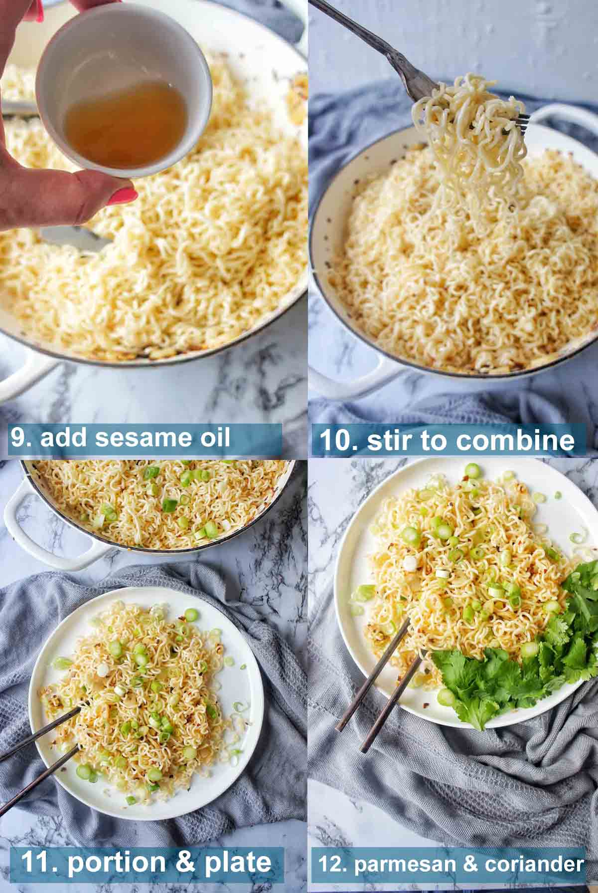 Garlic noodles recipe method 9 to 12 with text over lay