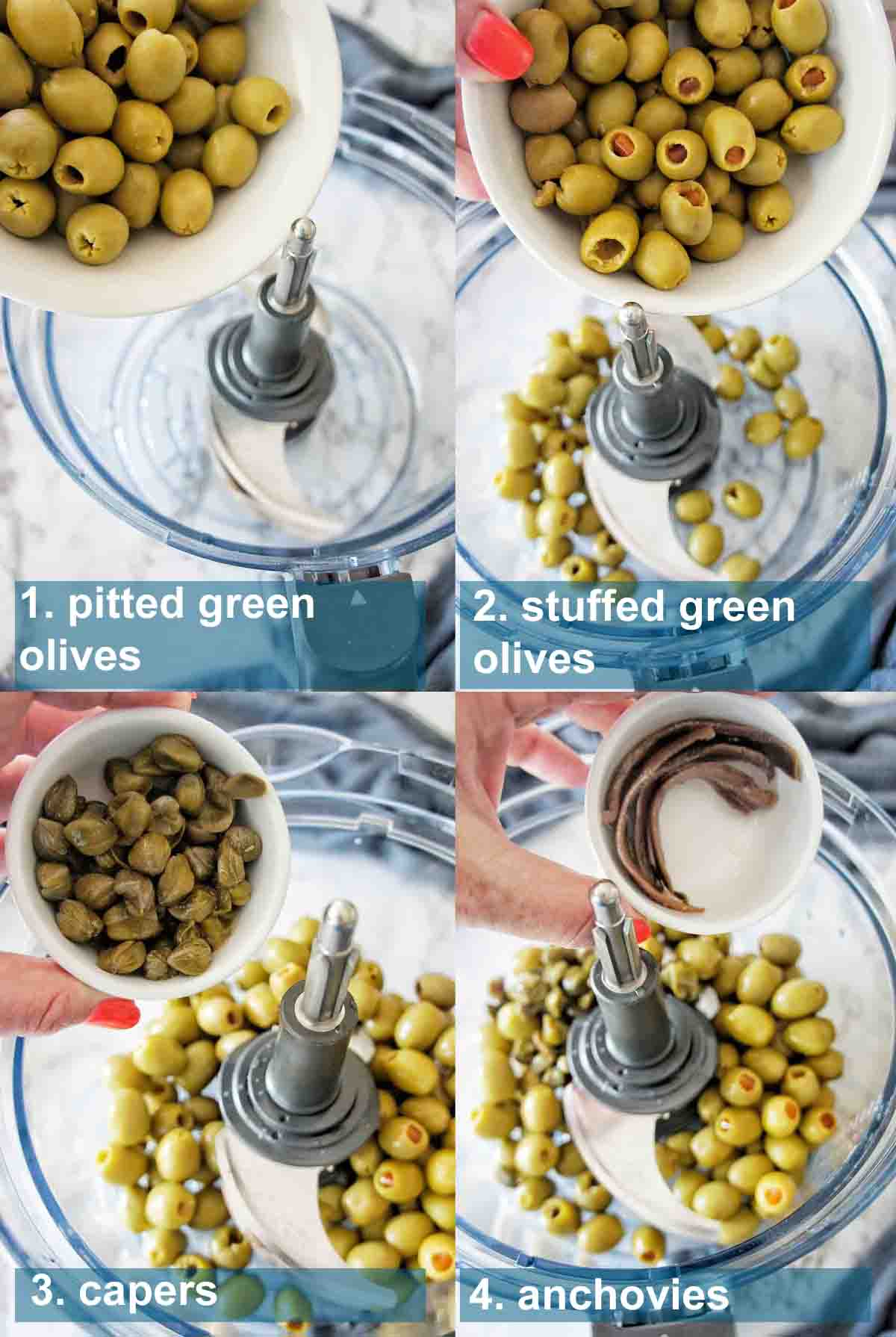 Process shots for green olive tapenade with text overlay