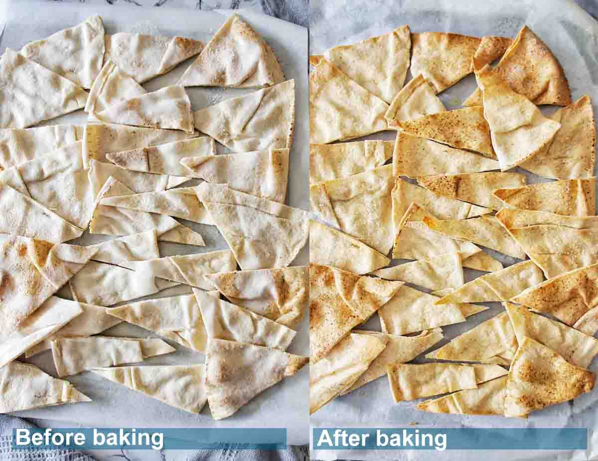 Pita chips before and after baking