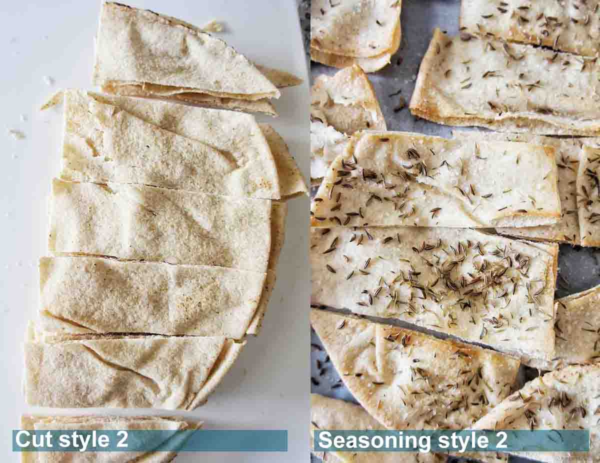 Easy pita chips style 2 with seasoning before and after