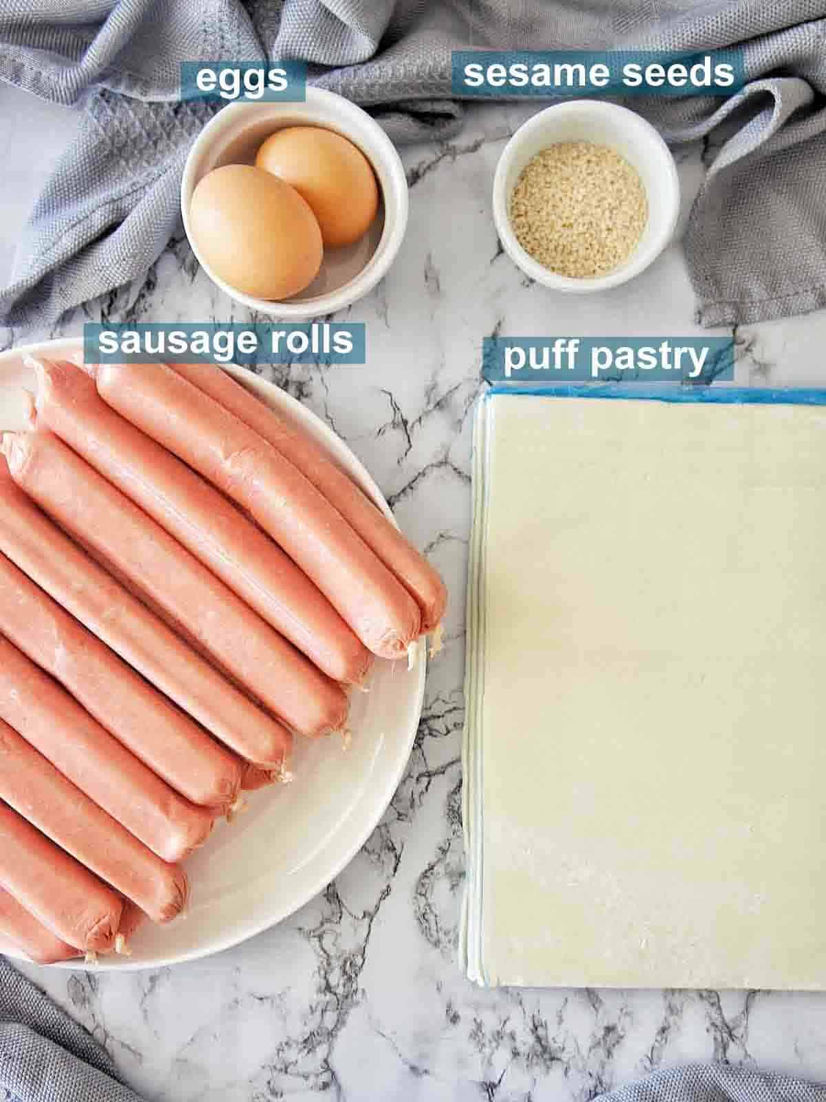 Ingredients set out and labelled for making easy sausage rolls