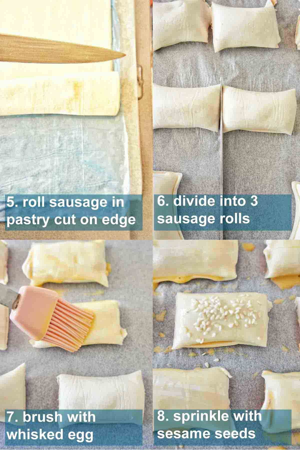 Step by step process shots for sausage rolls with text overlay