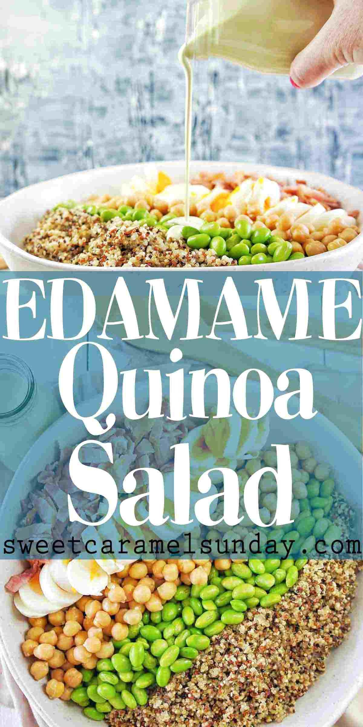 Edamame Quinoa Salad with text overlay