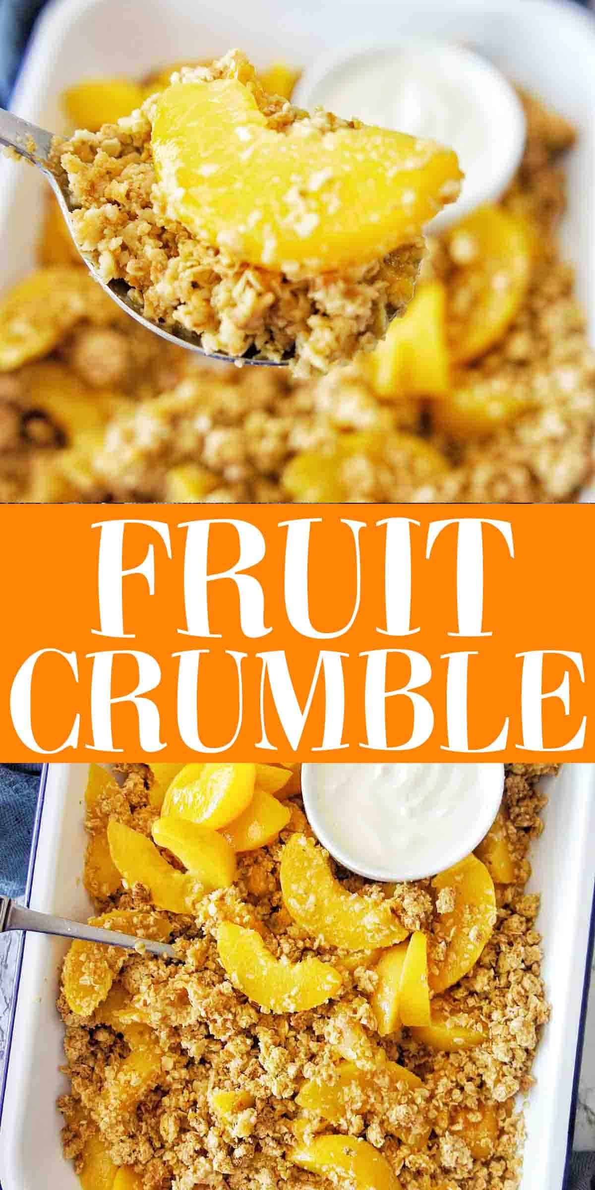Fruit Crumble with text overlay