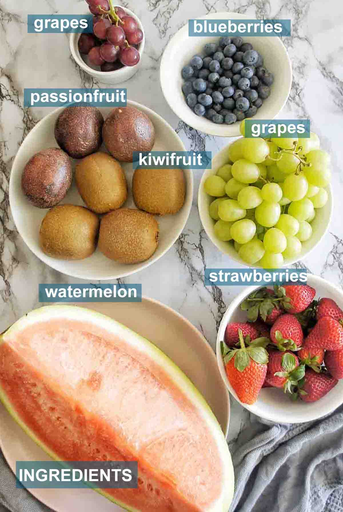Fruit Platter ingredients with text over lay