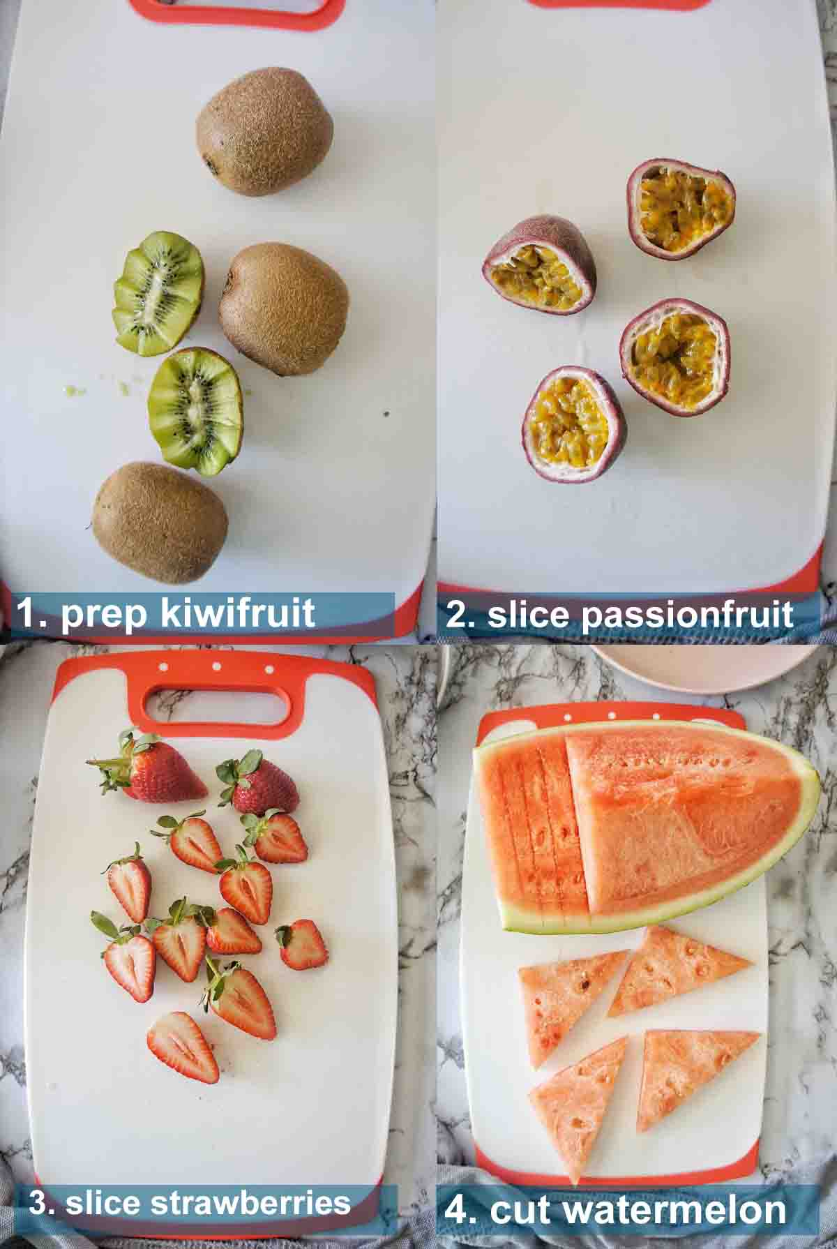 Fruit platter method 1 to 4 with text over lay