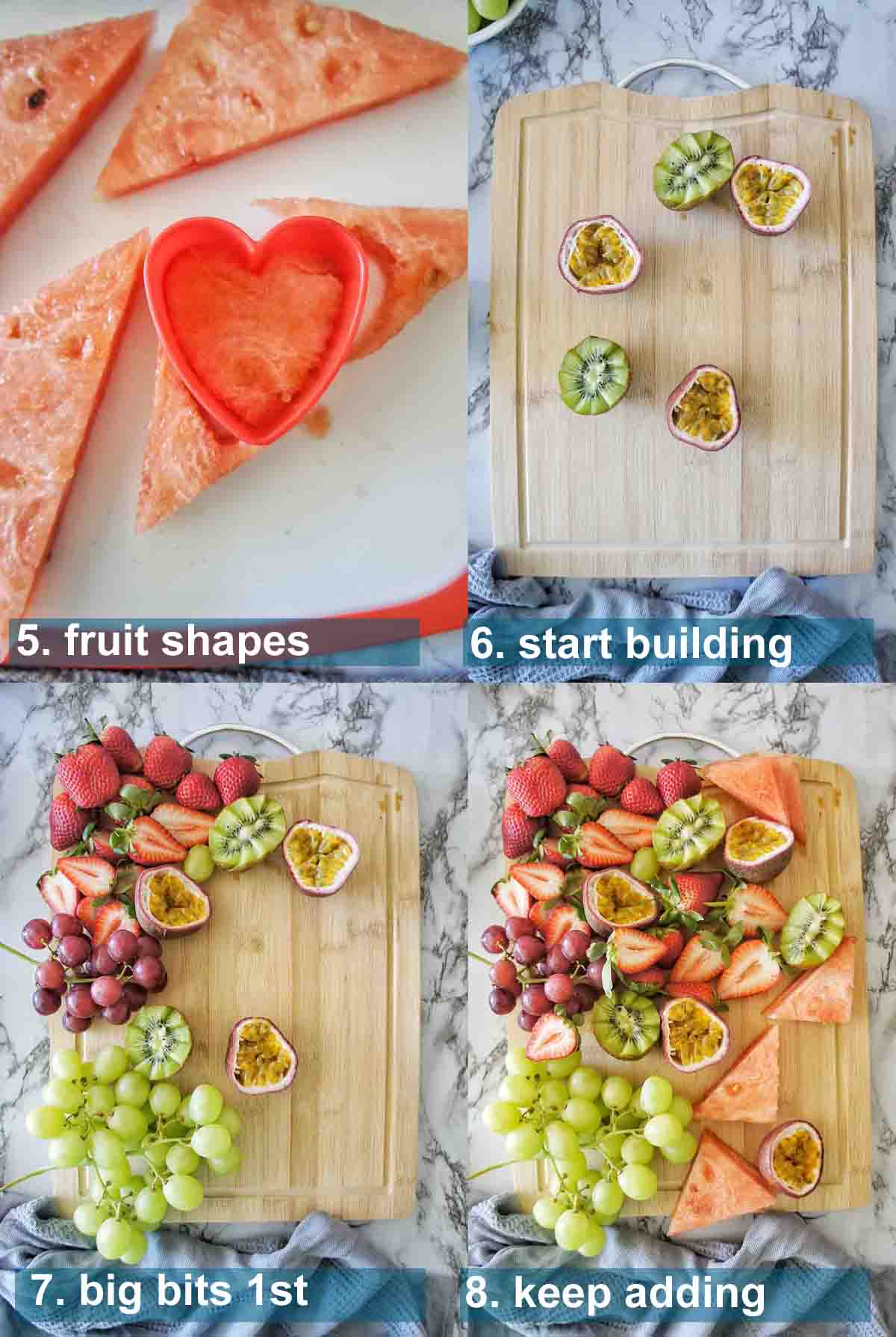 Fruit platter method 5 to 8 with text over lay