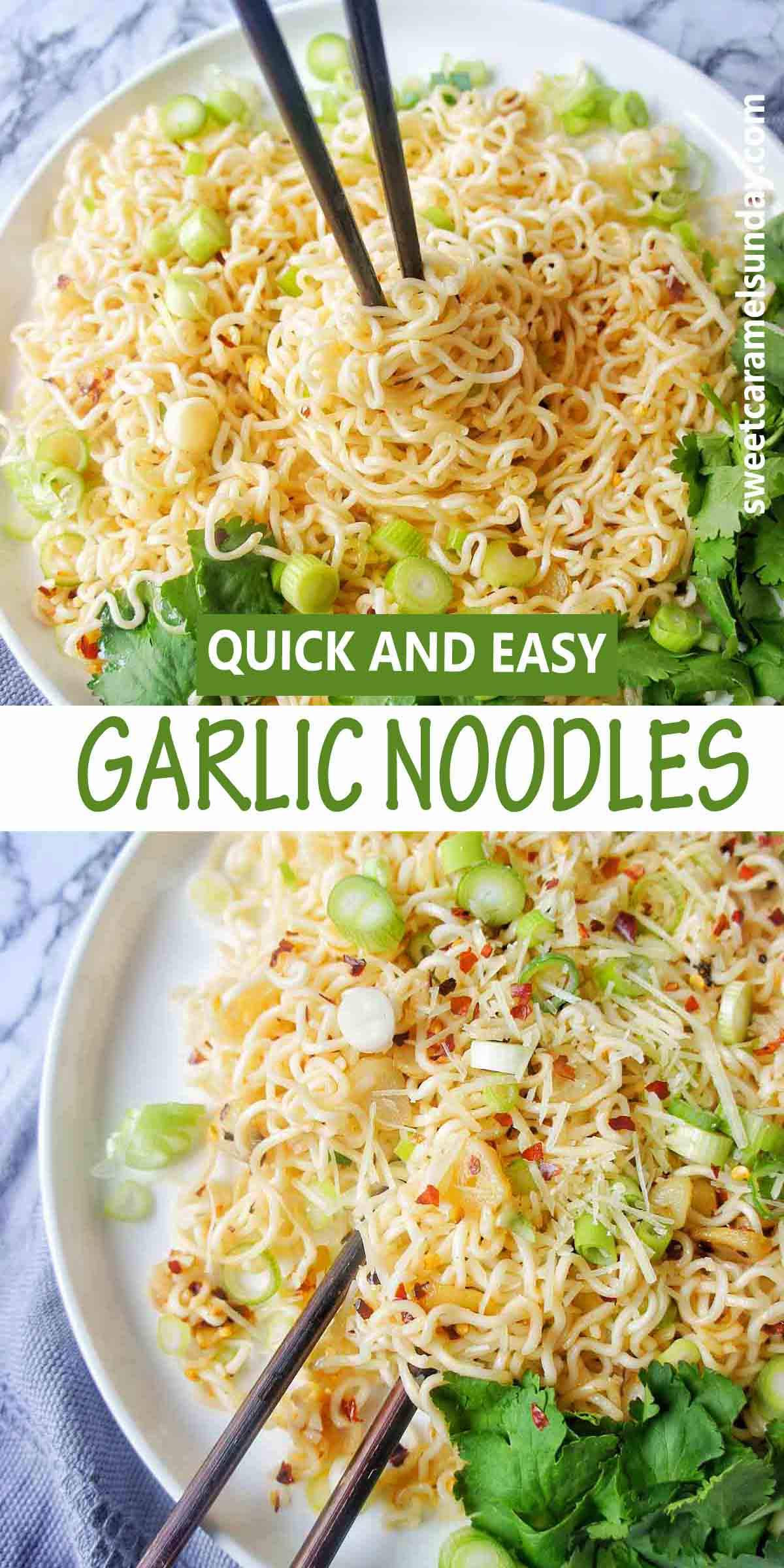 Garlic Noodles with text overlay