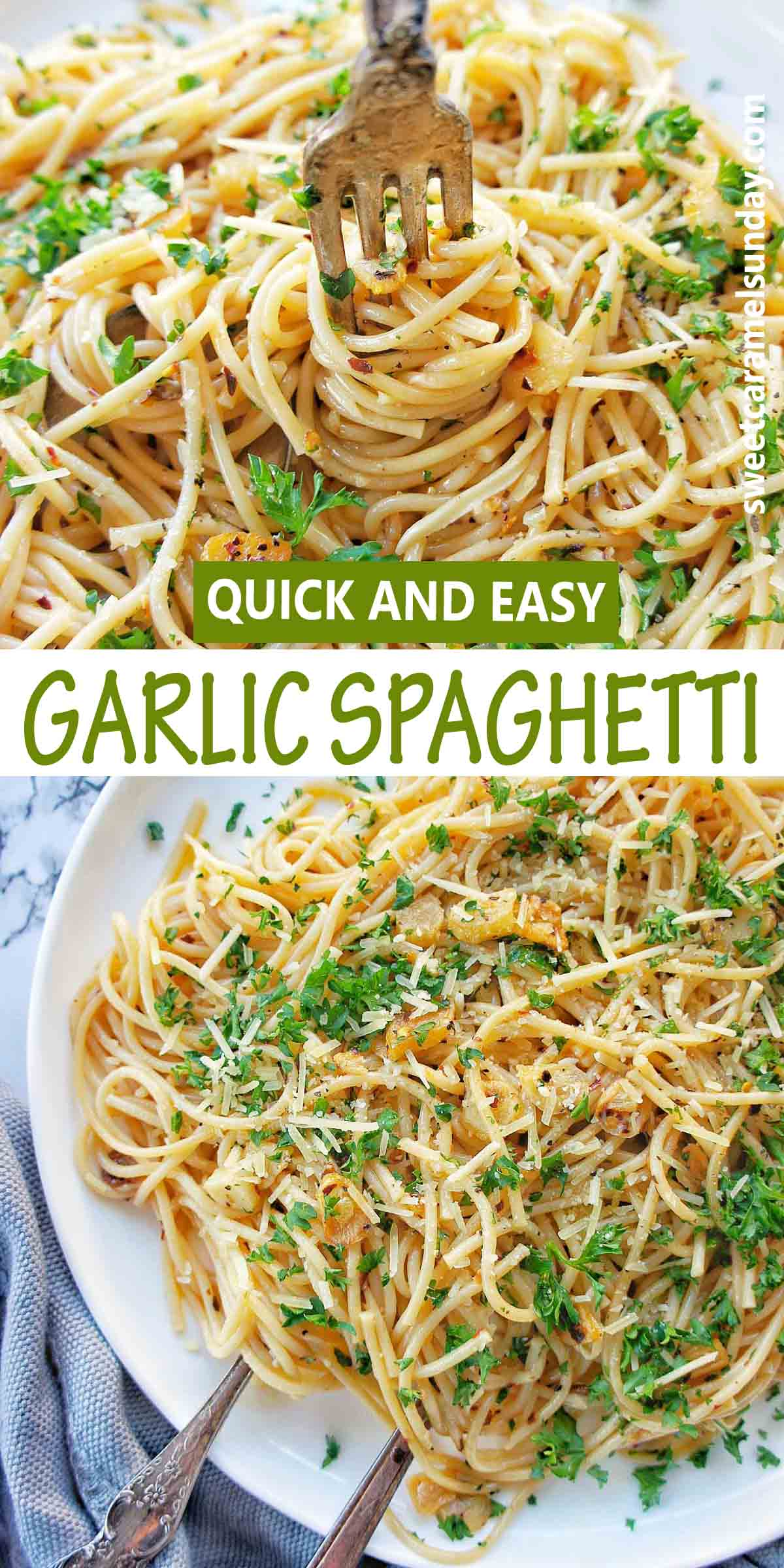 Garlic Spaghetti with text over lay