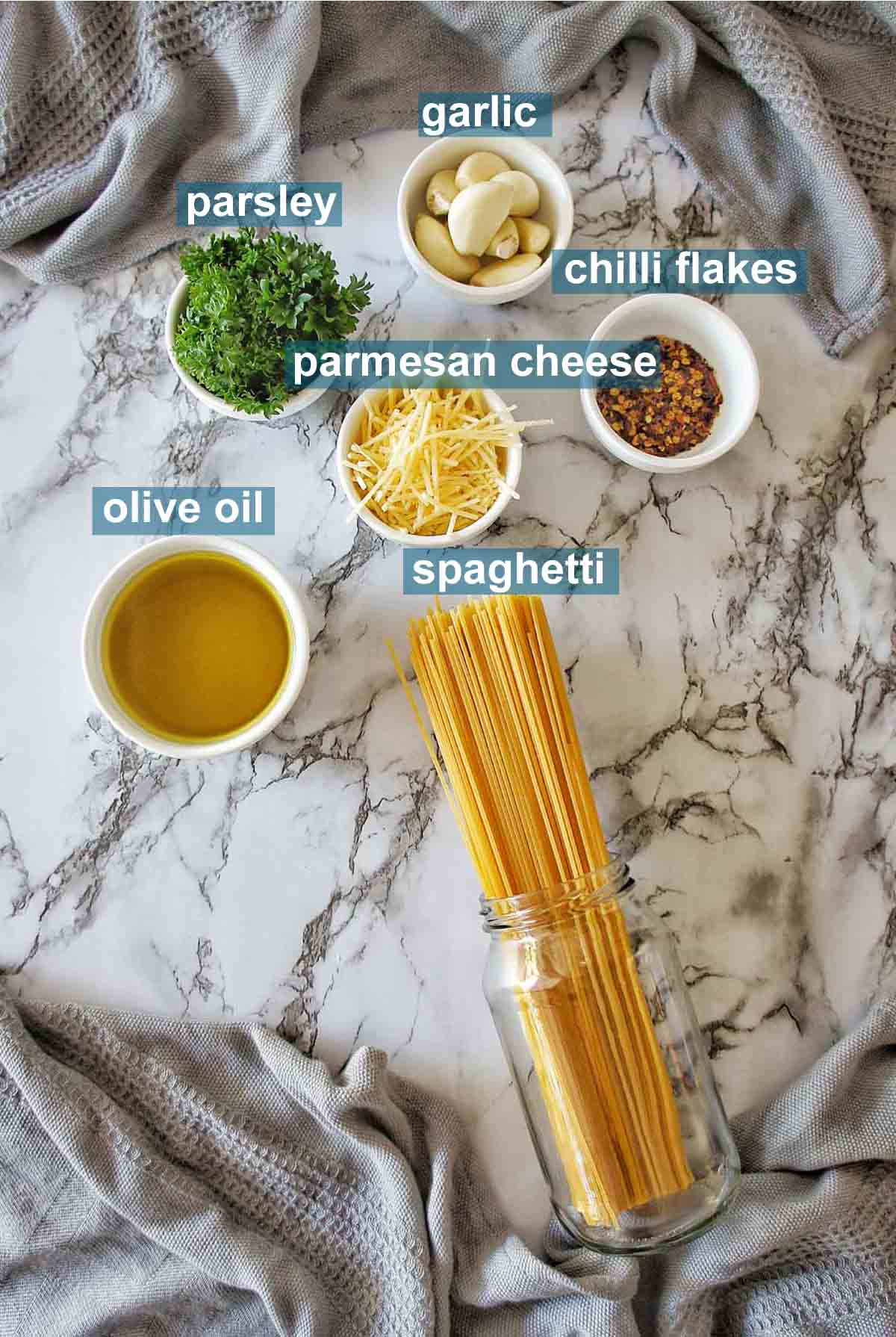 Garlic Spaghetti ingredients with text labels