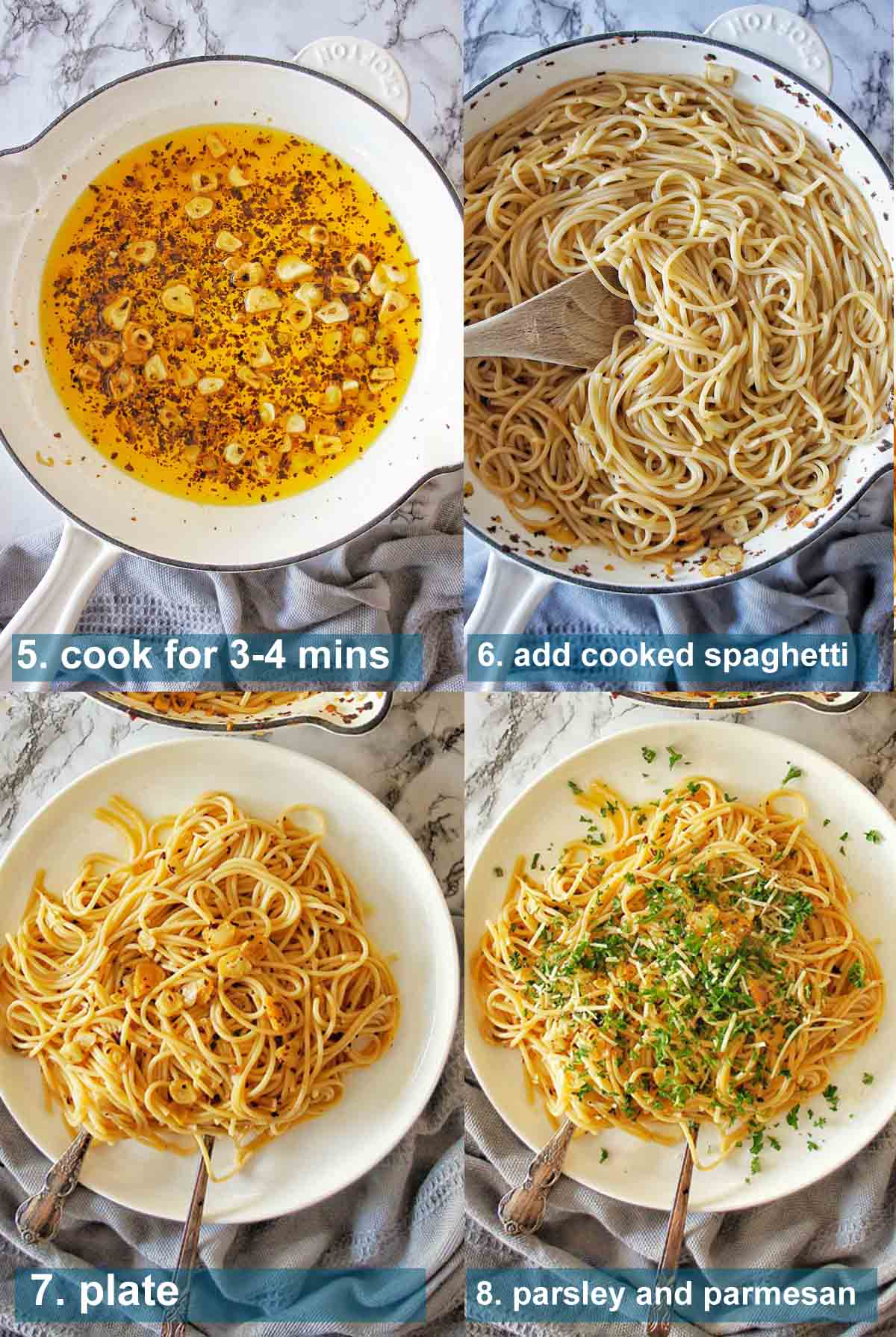 Garlic Spaghetti method 5 to 8 with text over lay