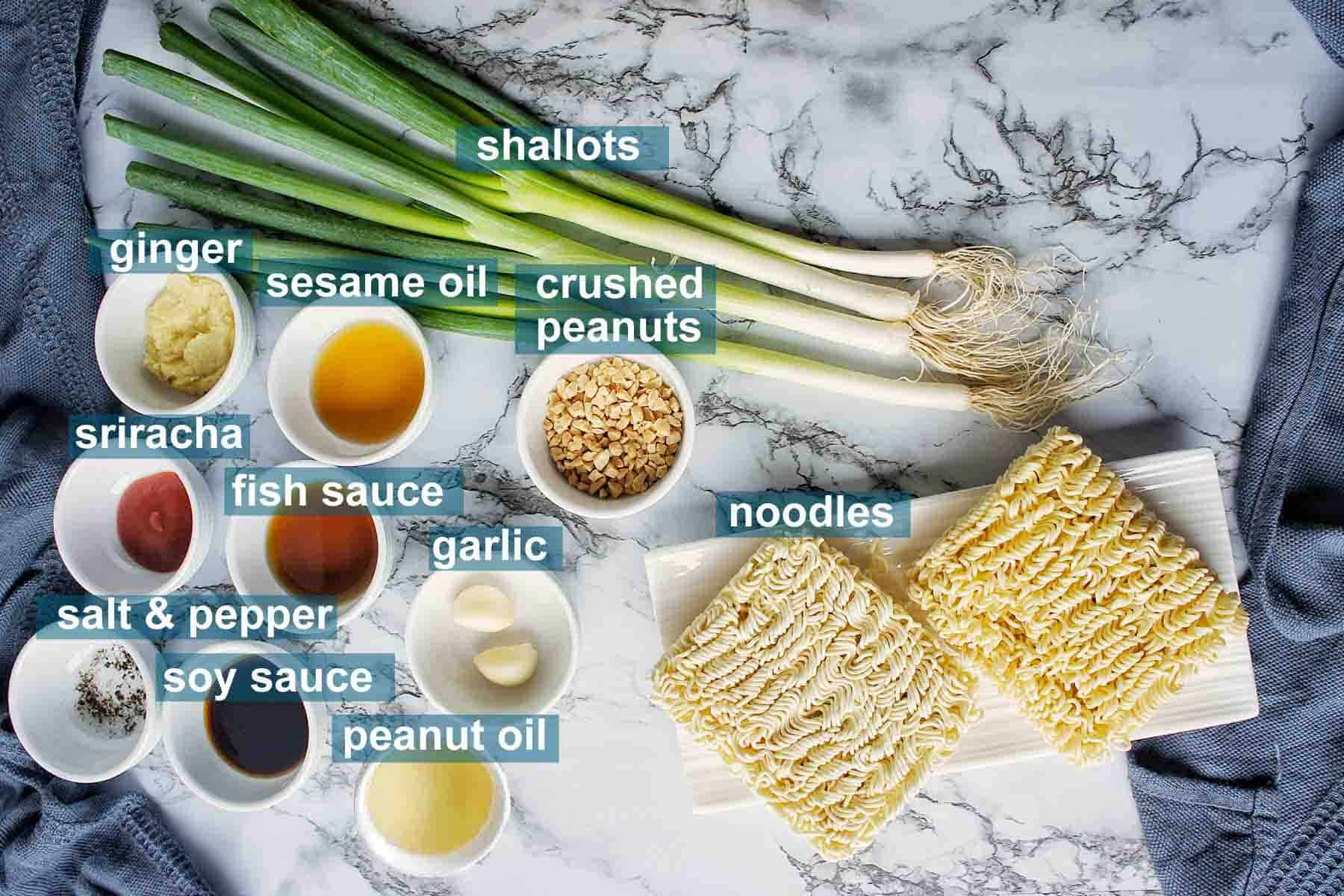 Ingredients for ginger scallion noodles on a marble background with text labels