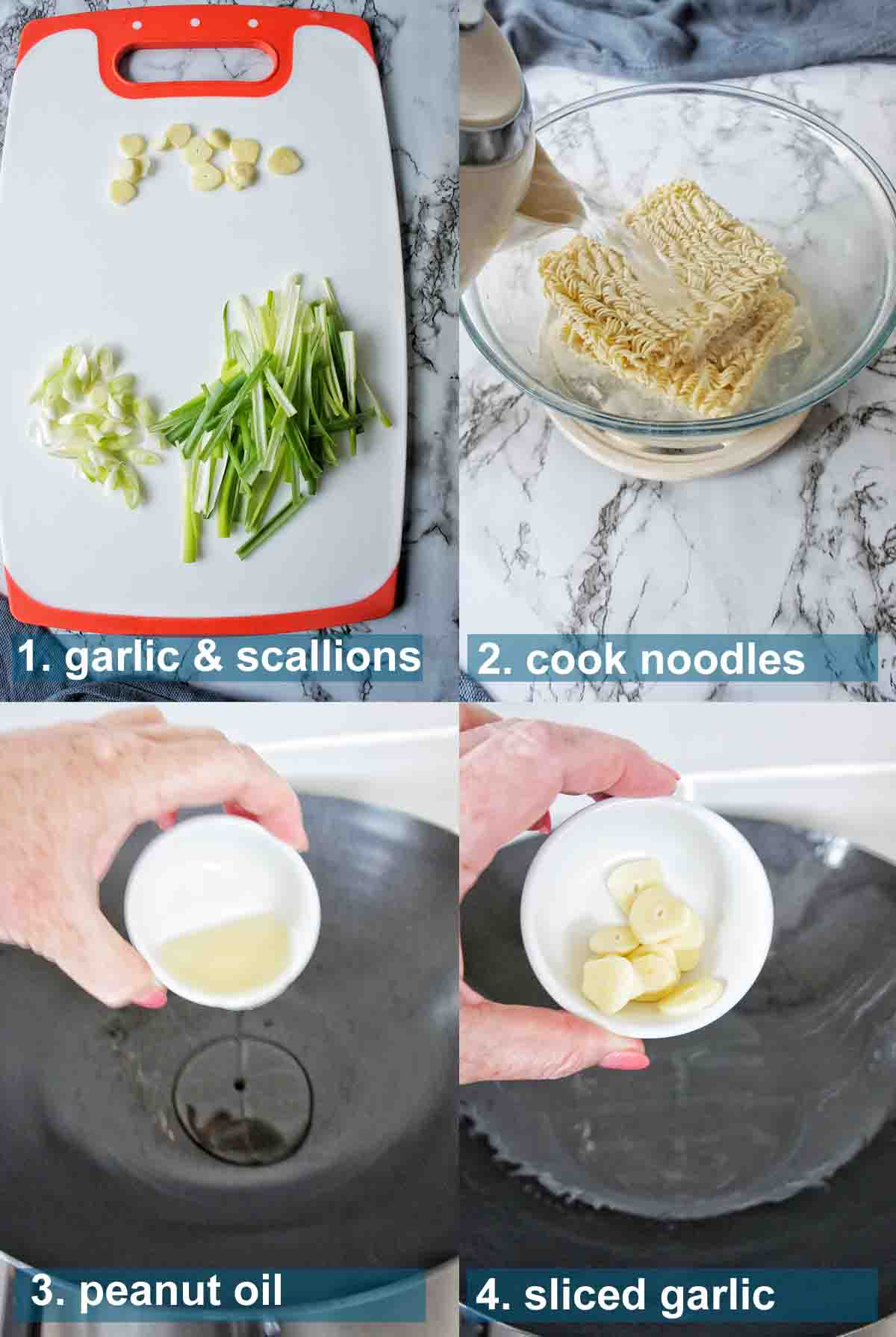 Ginger Scallion Noodles method 1 to 4 with text over lay