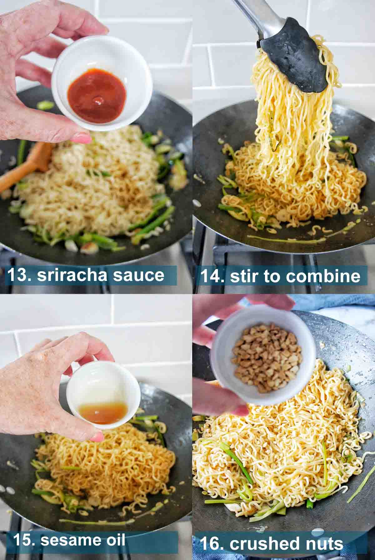 Scallion noodles with ginger method 13 to 16 with text labels