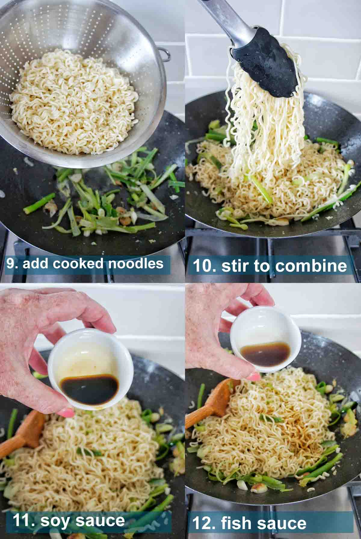Ginger Noodles method 9 to 12 with text lables