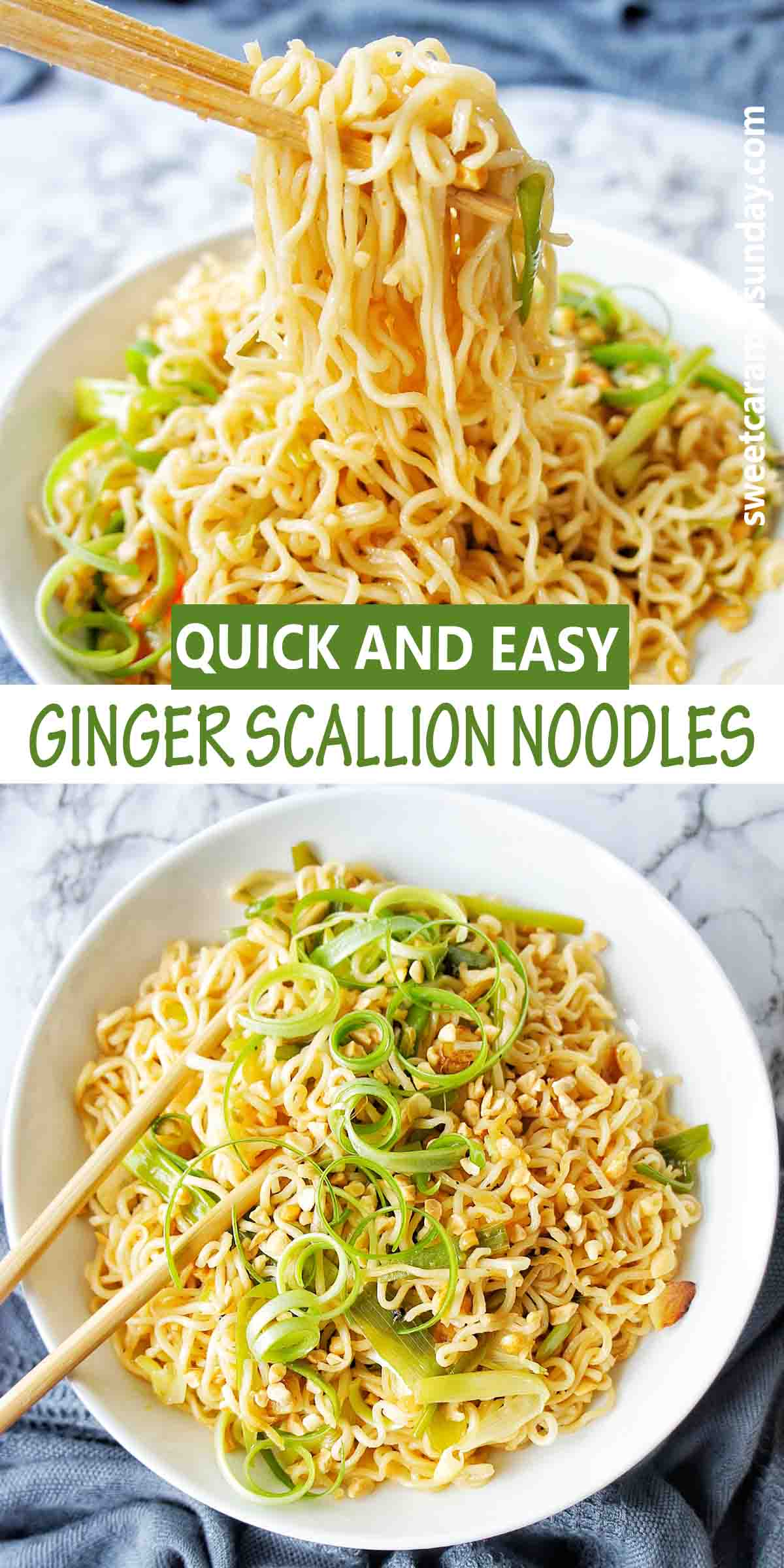 Ginger Scallion Noodles with text over lay