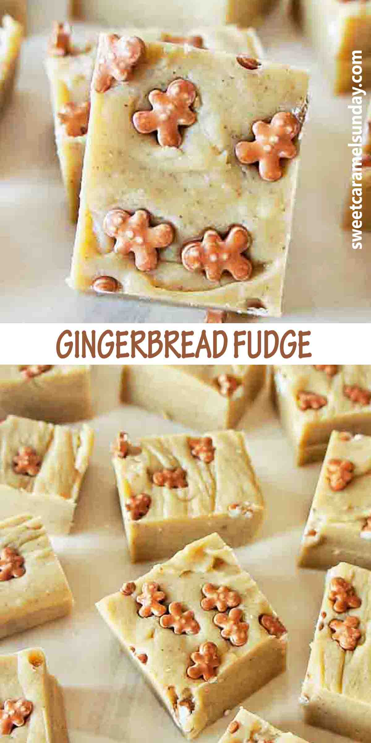 Gingerbread Fudge with text over lay