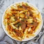Homemade Gravy Fries on white plate
