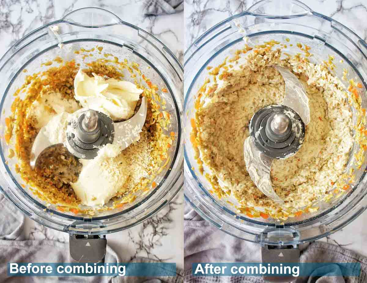 Before and after blitzing cream cheese olive dip in food processor