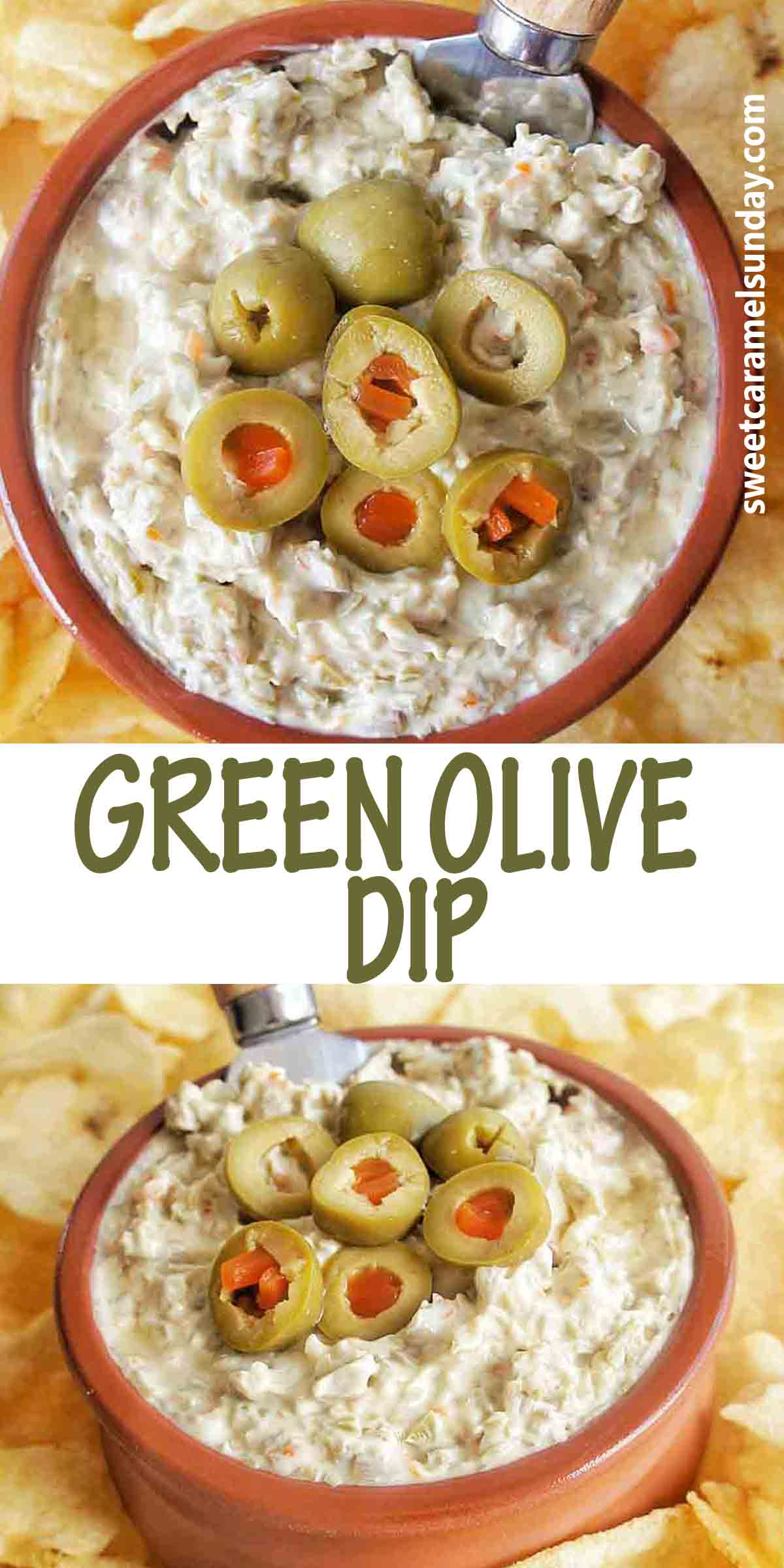 Green Olive Dip with text over lay