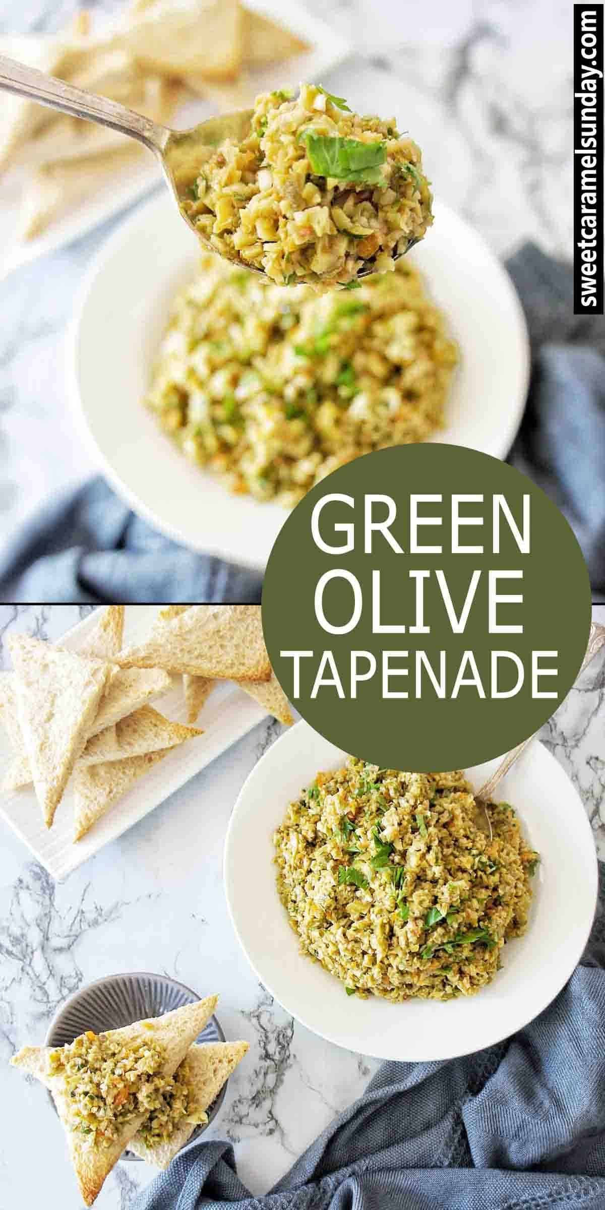 Green Olive Tapenade with text overlay