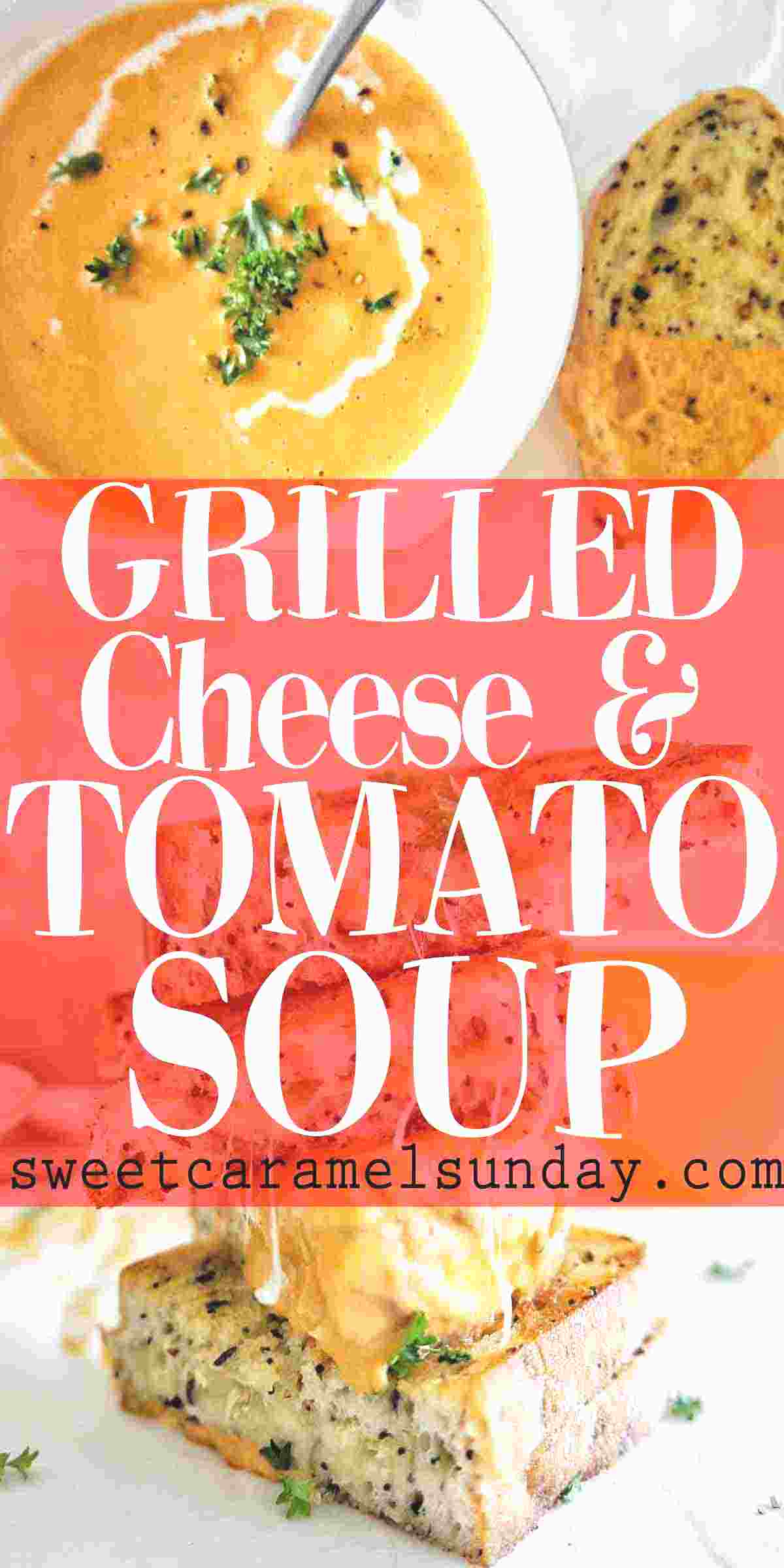 Grilled Cheese and Tomato Soup in a bowl with text overlay