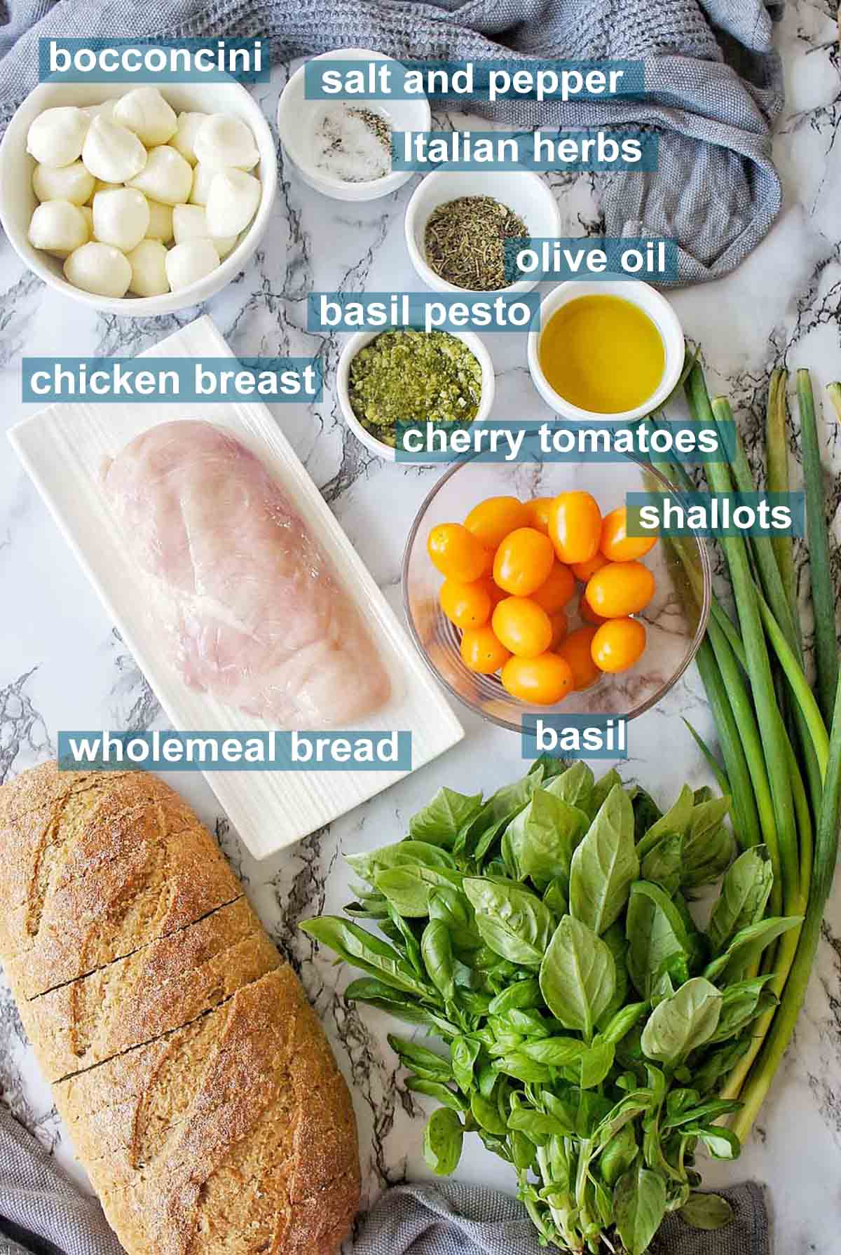 Ingredients for grilled chicken bruschetta with text labels