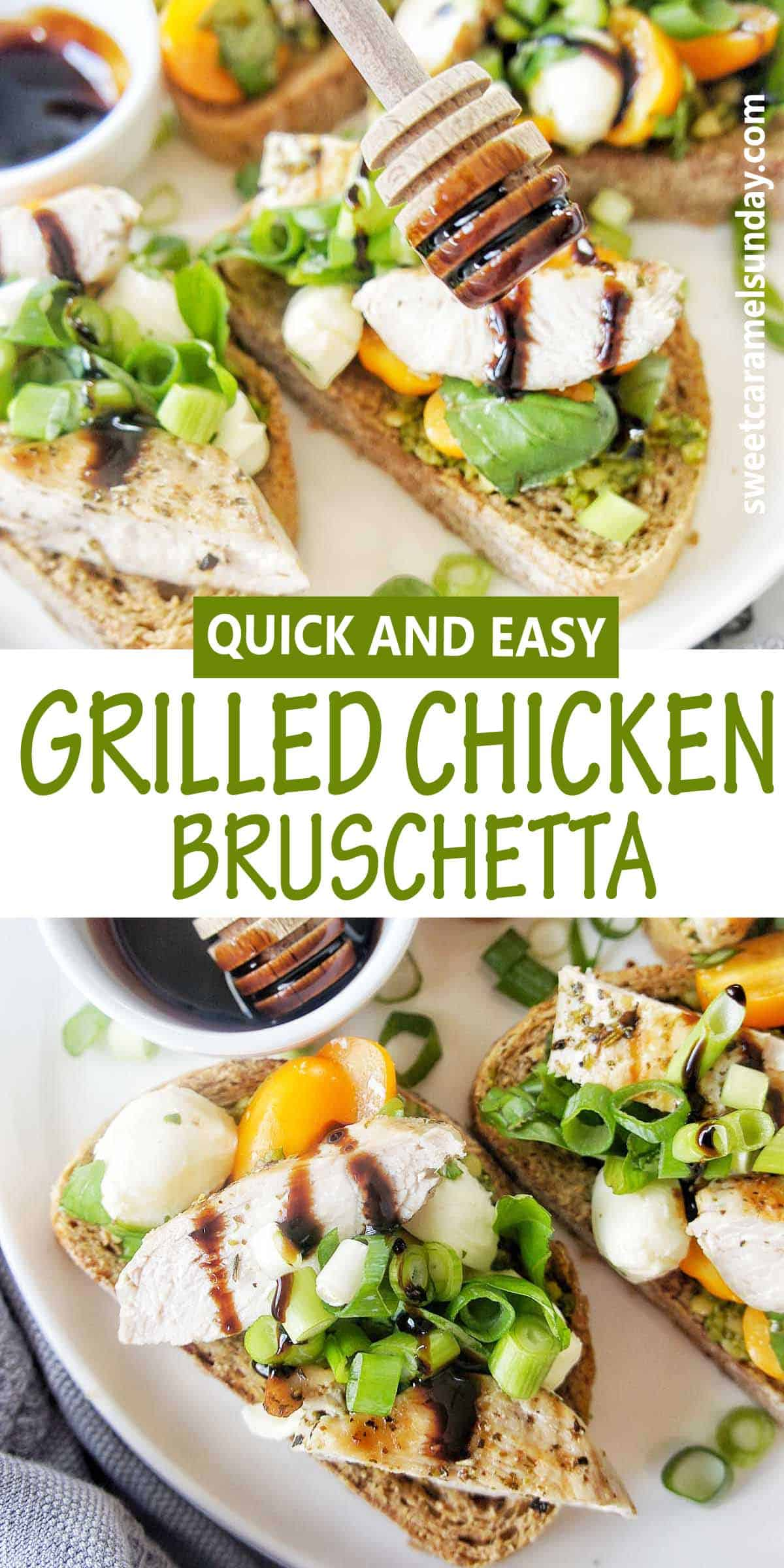 Grilled Chicken Bruschetta with text overlay