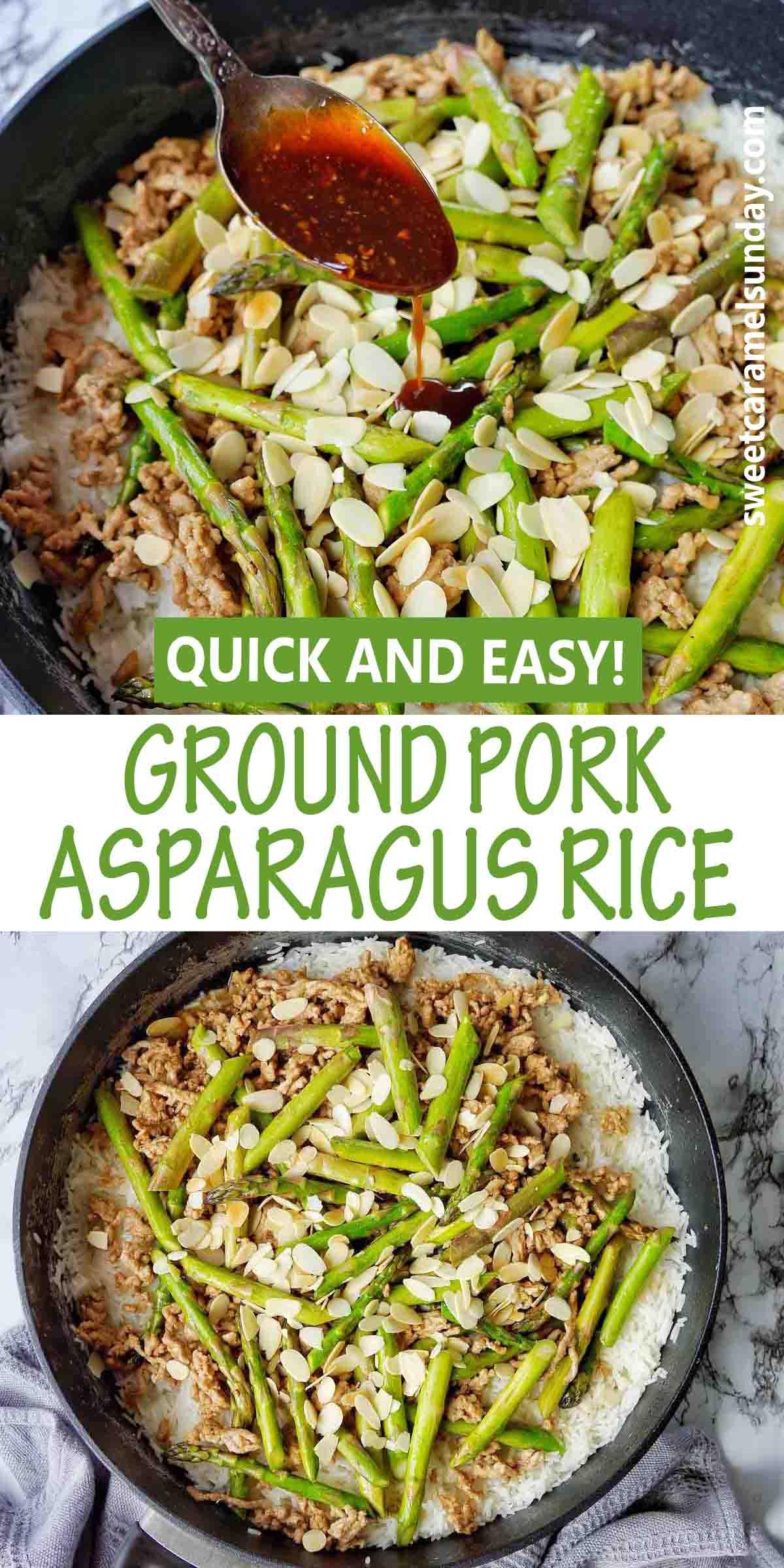 Ground Pork Asparagus with Rice
