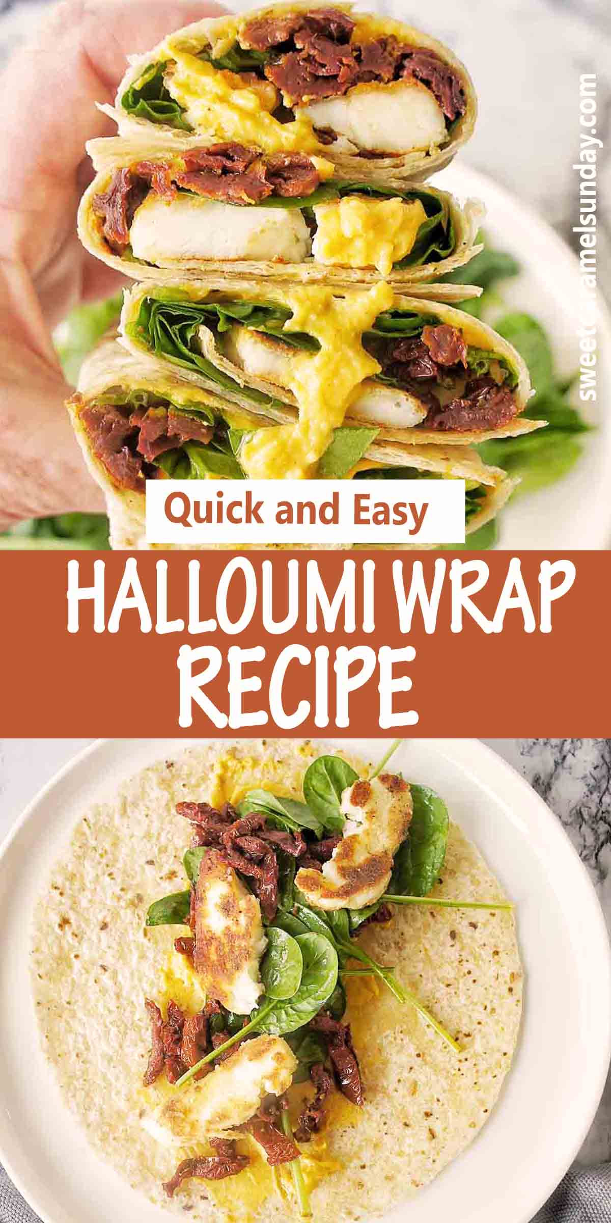 Halloumi Wrap with text over lay