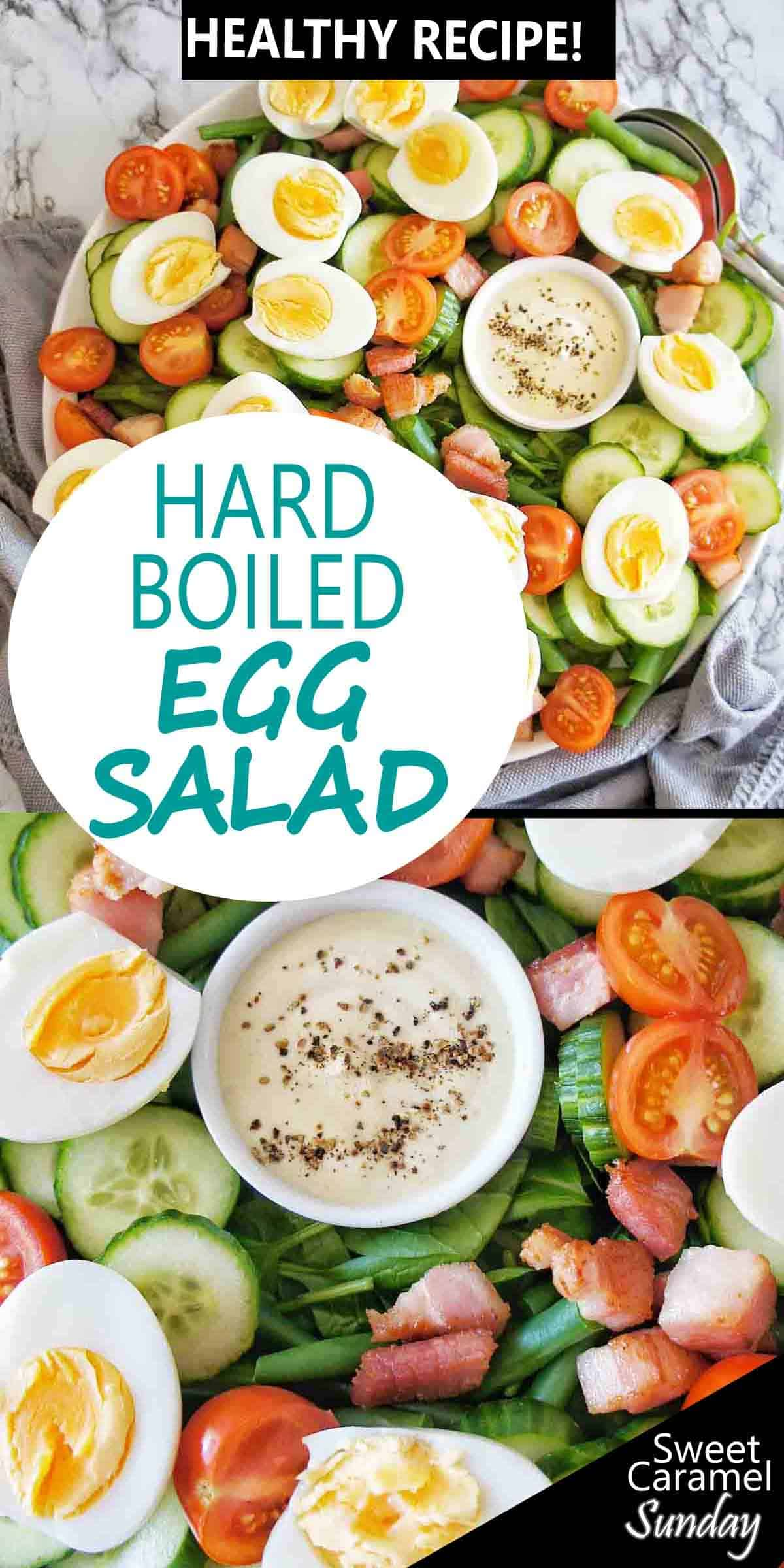 Hard Boiled Egg Salad with text overlay